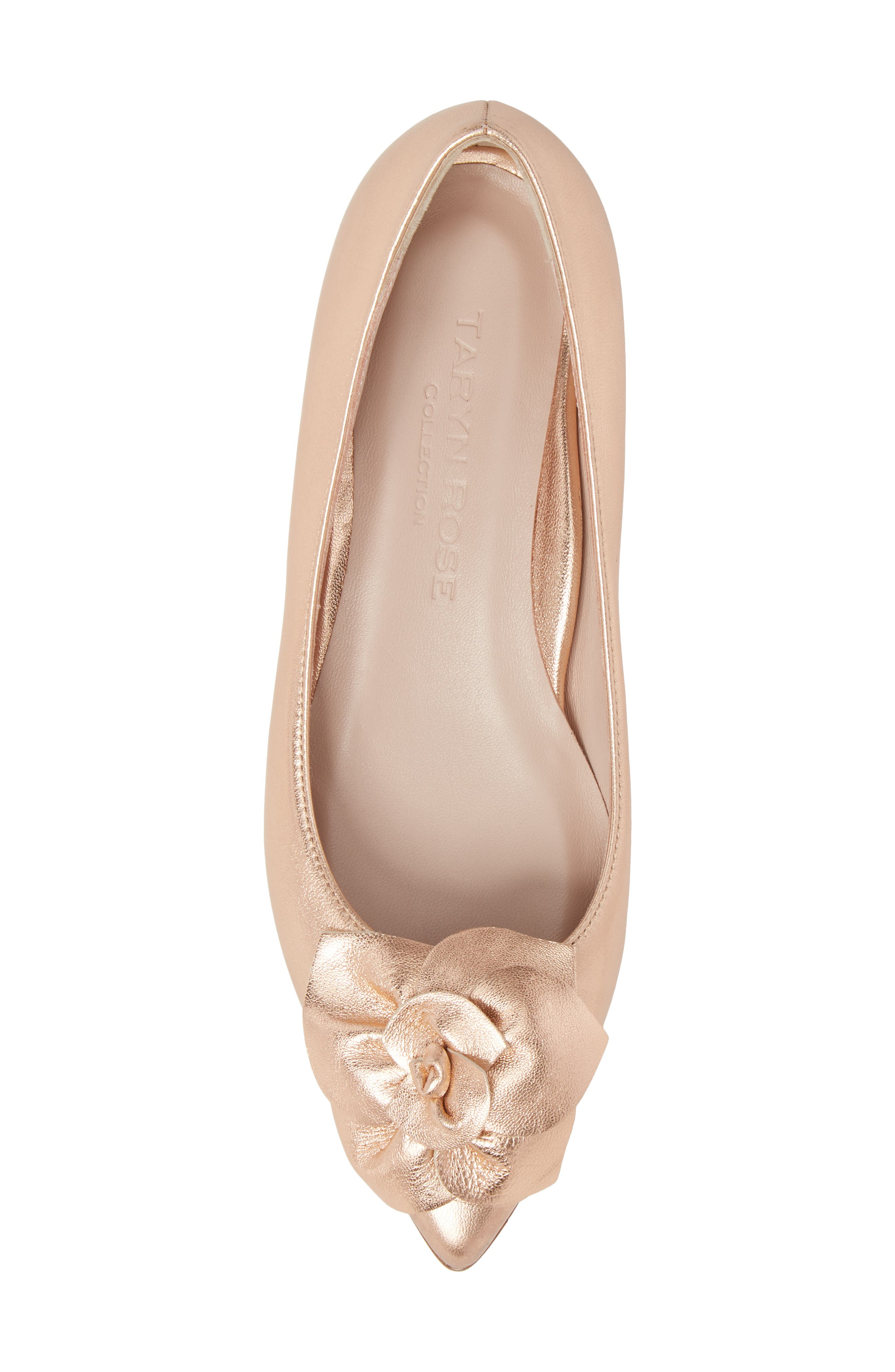 Rialta Flat,                             Alternate thumbnail 5, color,                             Rose Gold Leather