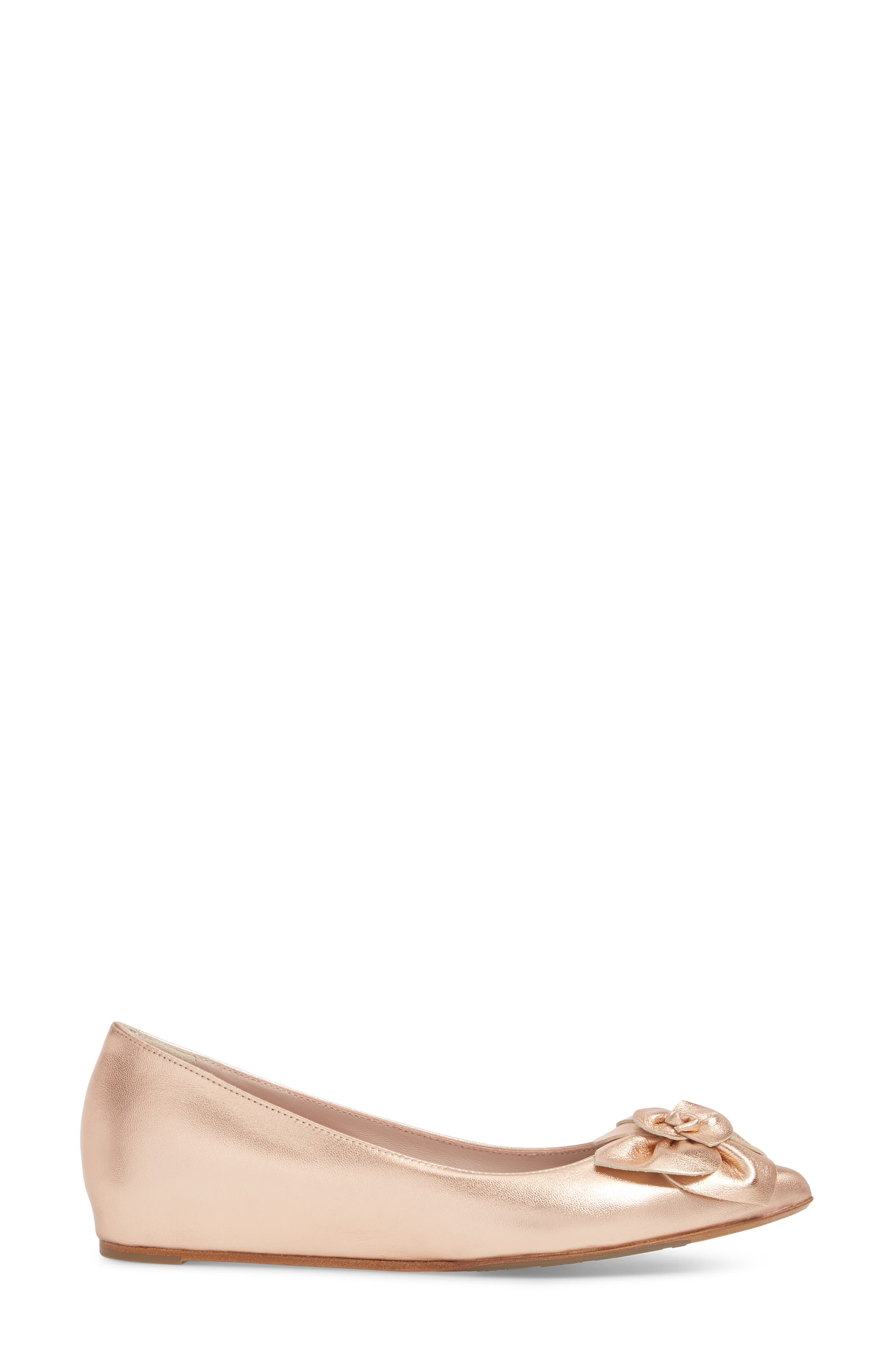 Rialta Flat,                             Alternate thumbnail 3, color,                             Rose Gold Leather