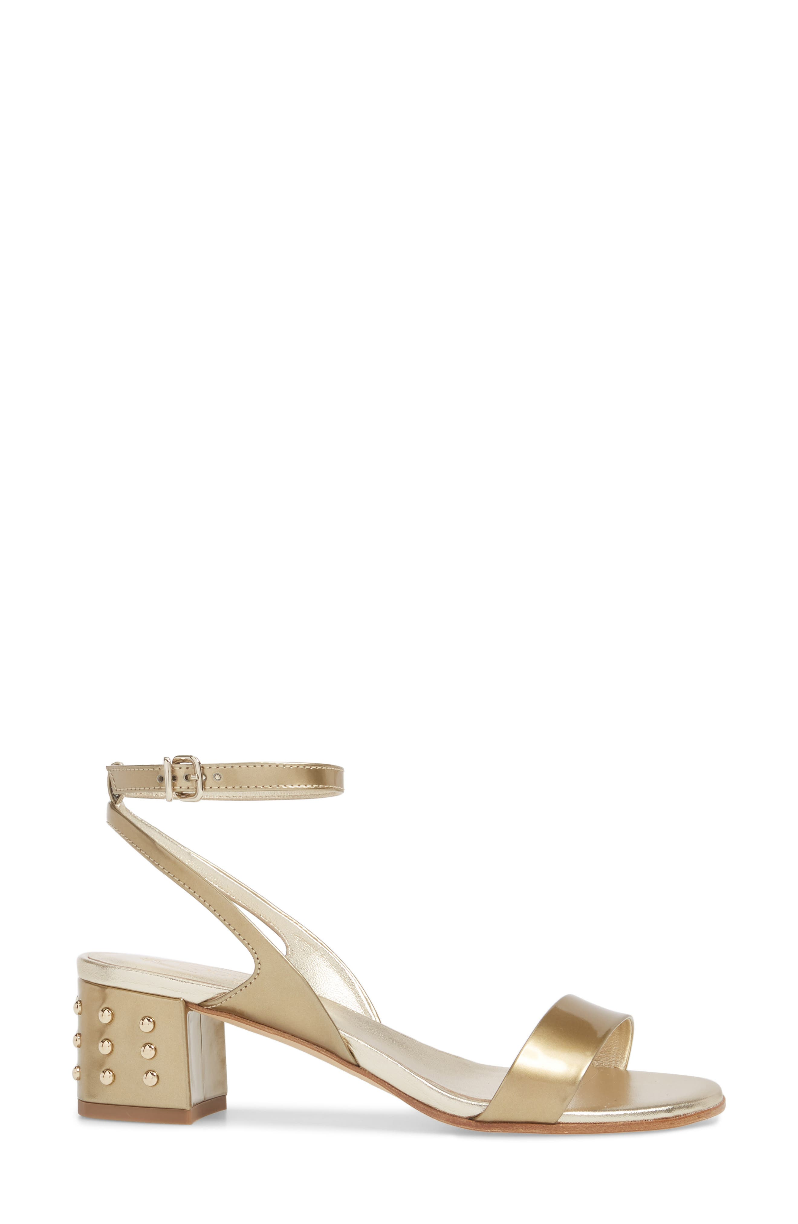 Gommini Block Heel Sandal,                             Alternate thumbnail 3, color,                             Gold