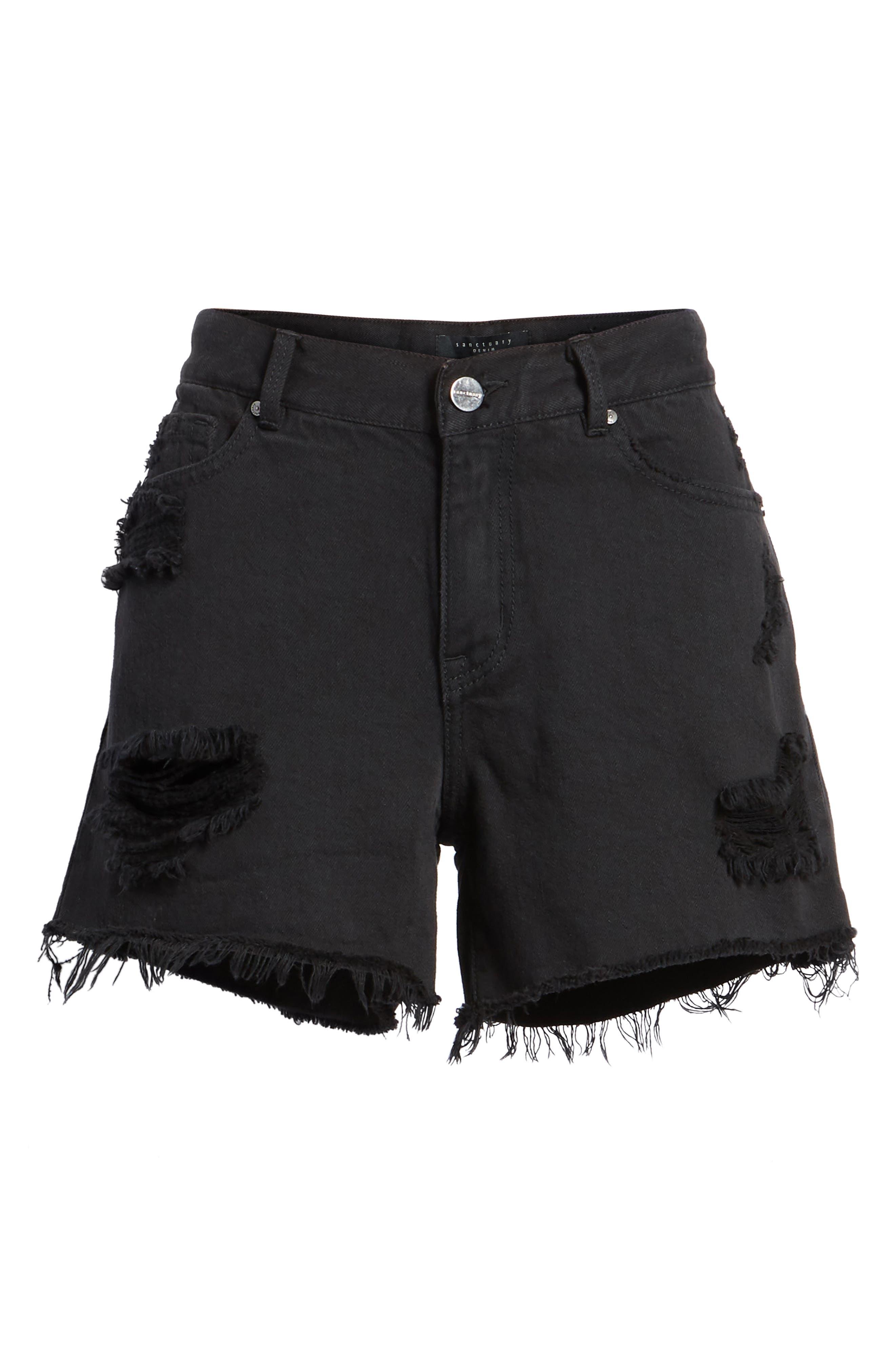 Black Midi Fray Shorts,                             Alternate thumbnail 6, color,                             Faded Black