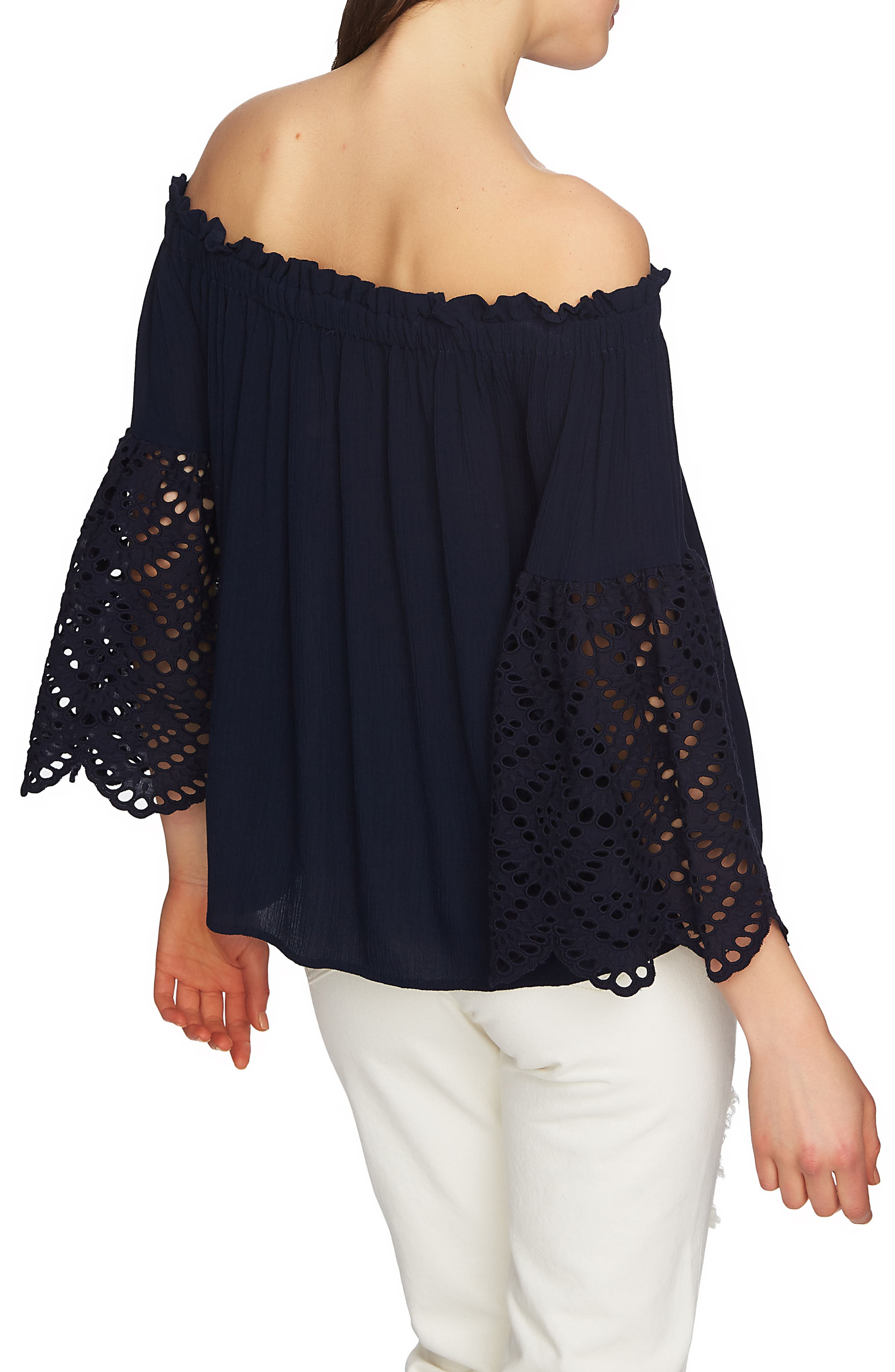 Off the Shoulder Eyelet Sleeves Blouse,                             Alternate thumbnail 3, color,                             Night Navy