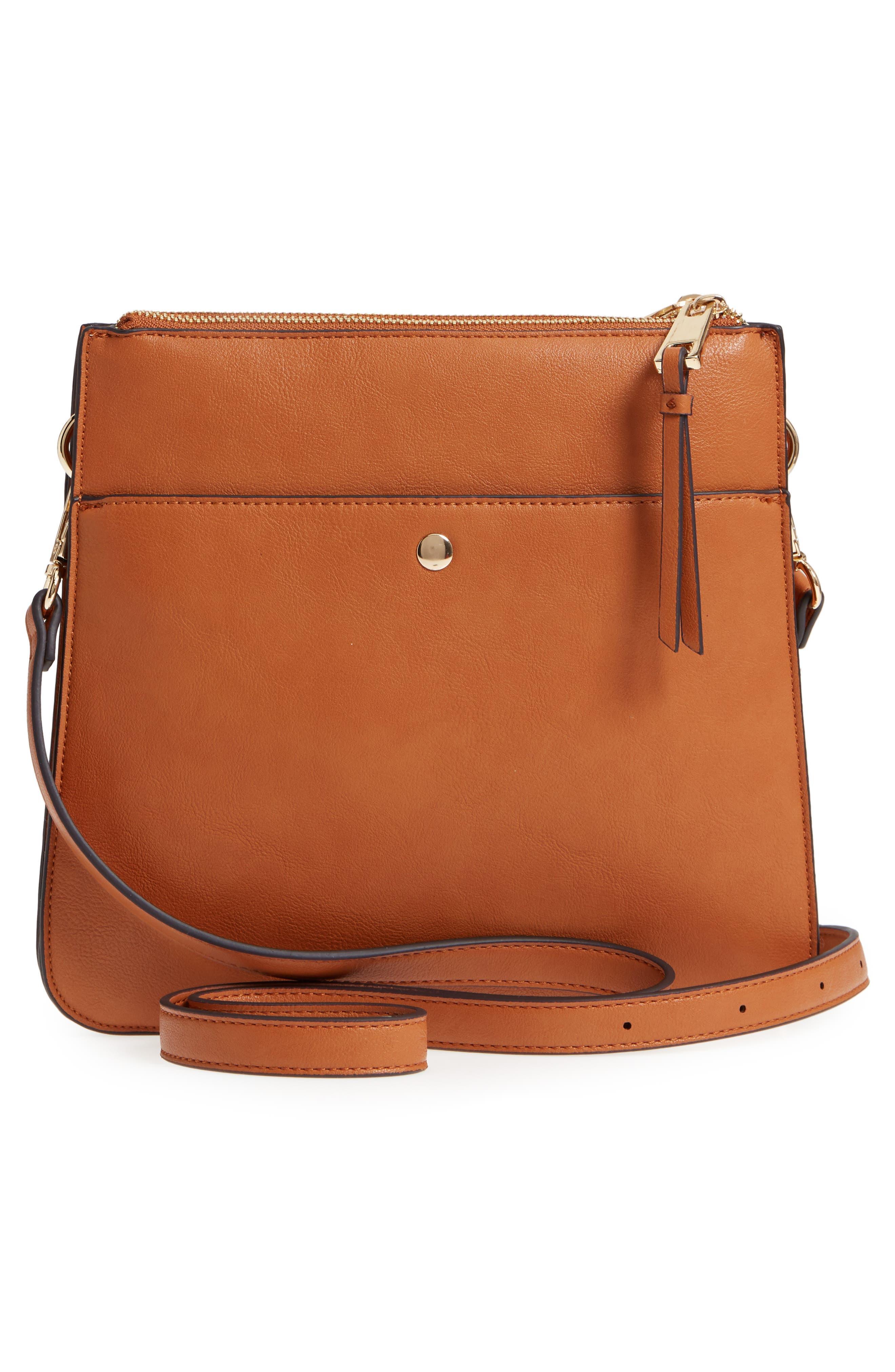 Front Pocket Faux Leather Crossbody Bag,                             Alternate thumbnail 3, color,                             Cognac
