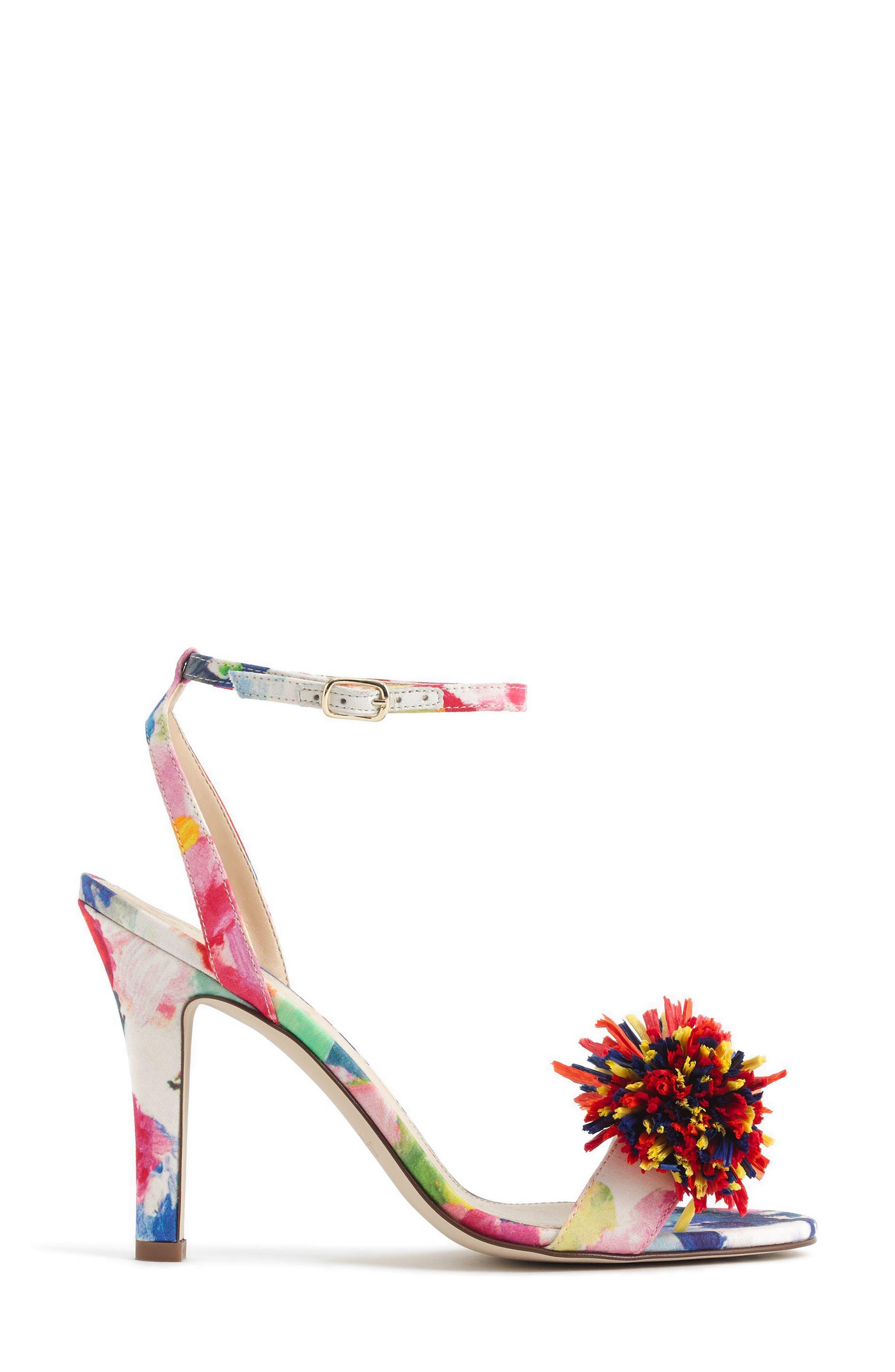 Raffia Bow Strappy Sandal,                             Alternate thumbnail 2, color,                             Bouquet Multi Fabric