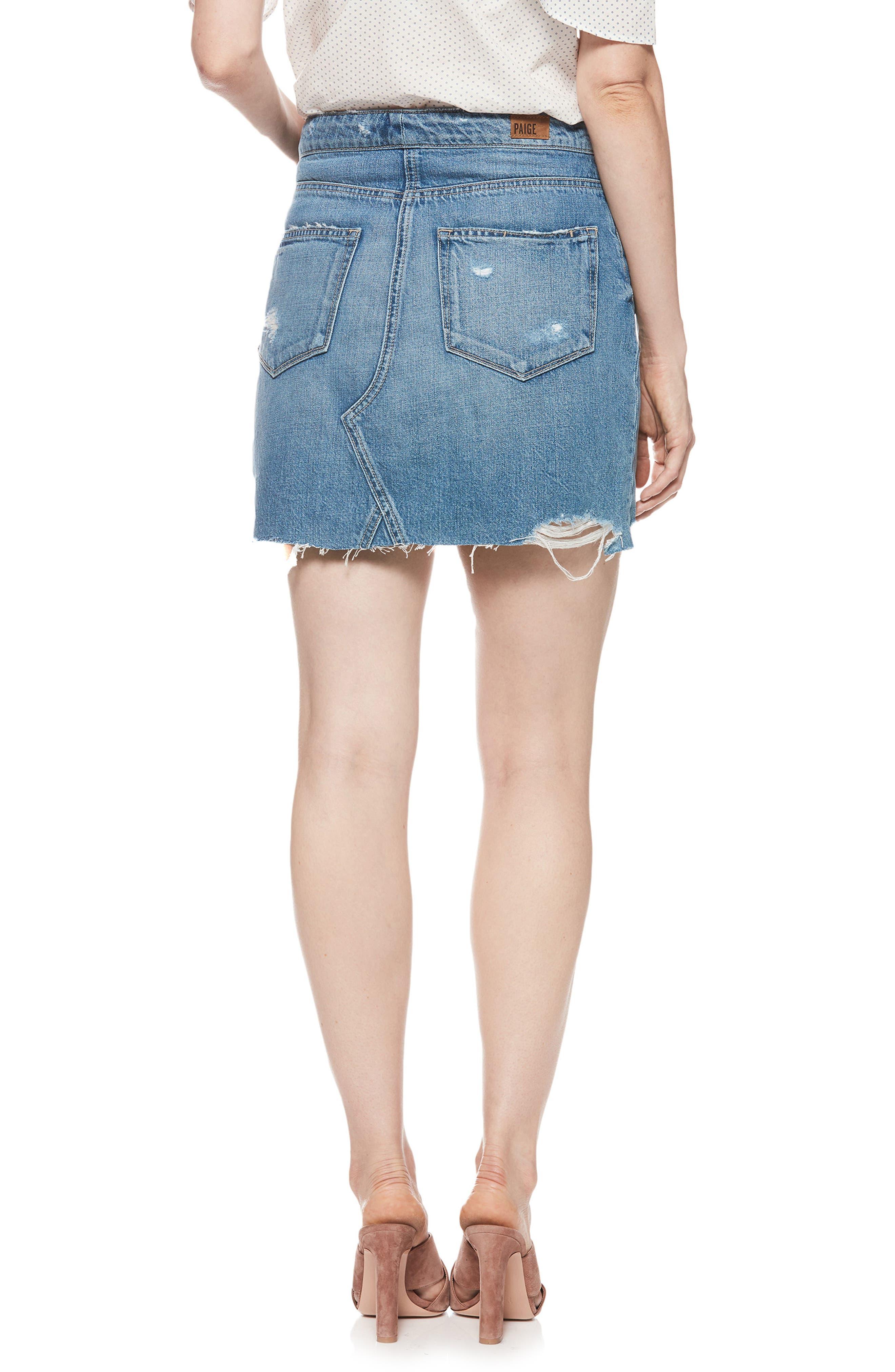 Alethea High Waist Denim Skirt,                             Alternate thumbnail 2, color,                             Arissa Destructed