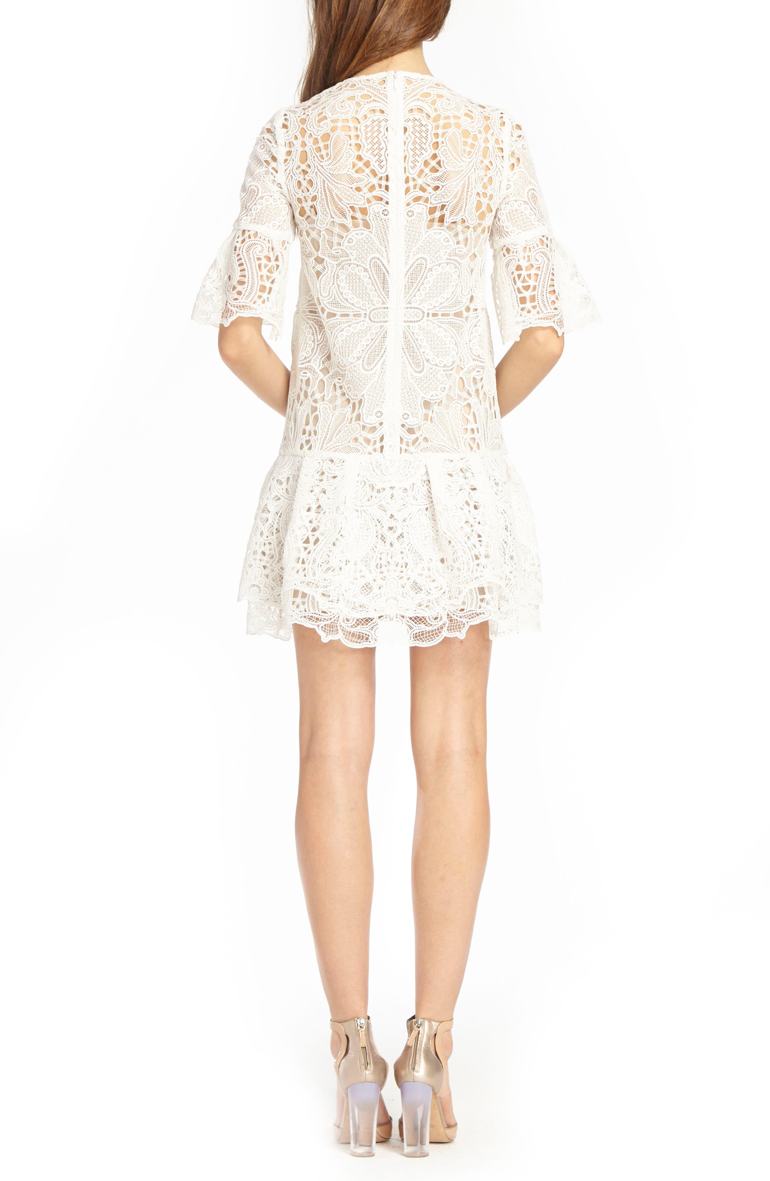 Lace & Ruffle Shift Dress,                             Alternate thumbnail 2, color,                             White