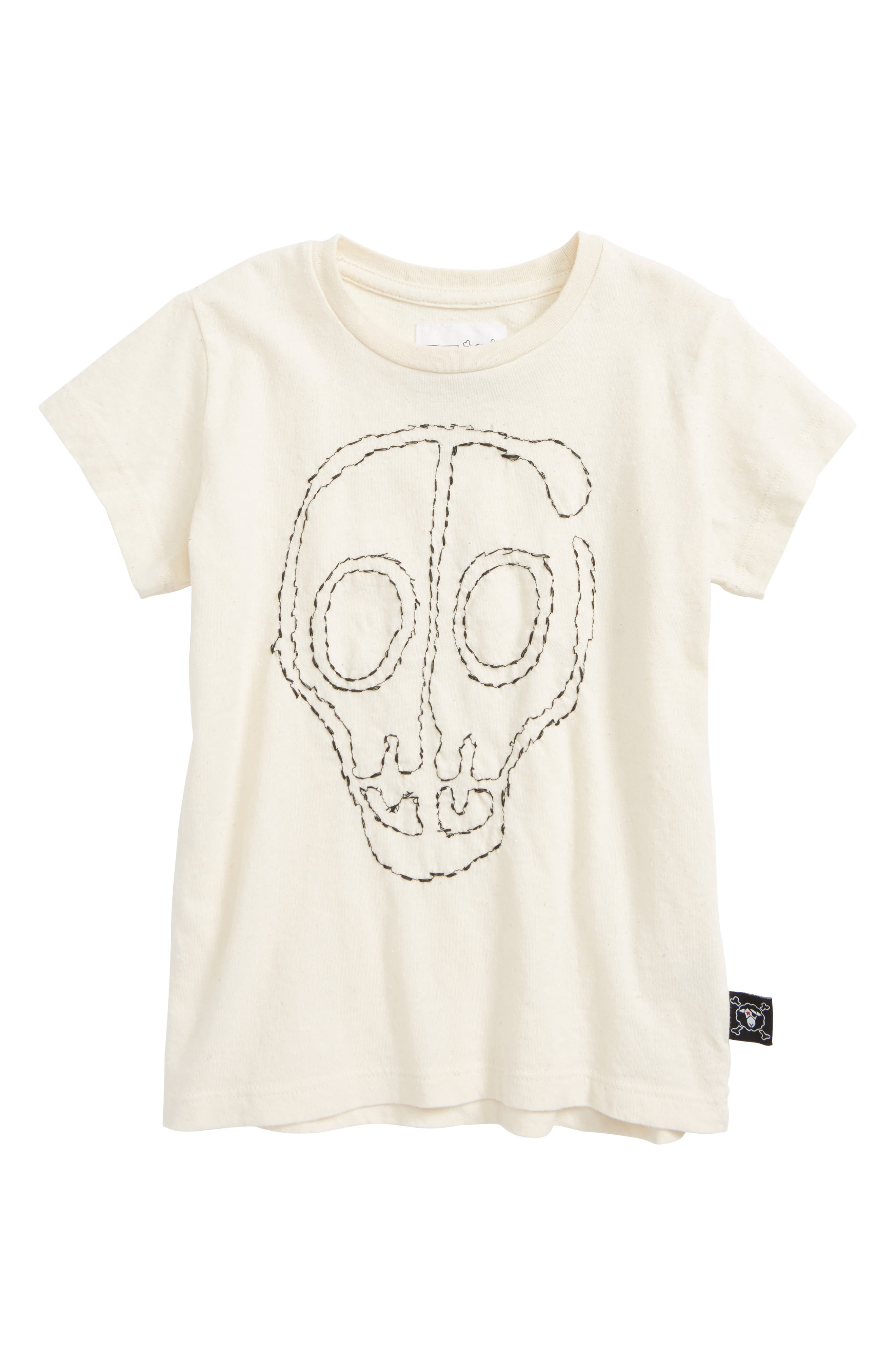 Embroidered Skull T-Shirt,                         Main,                         color, White