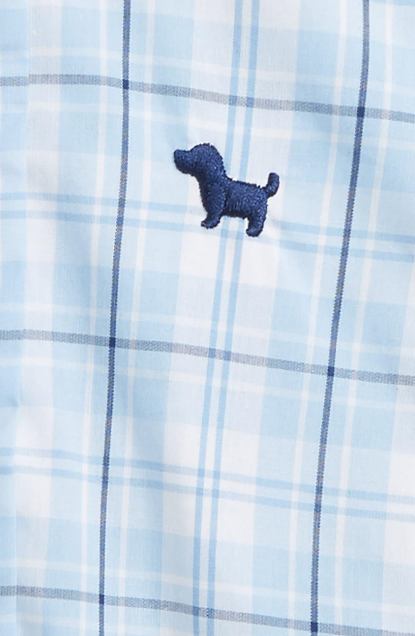 Check Bodysuit, Bow Tie & Shorts Set,                             Alternate thumbnail 2, color,                             Navy