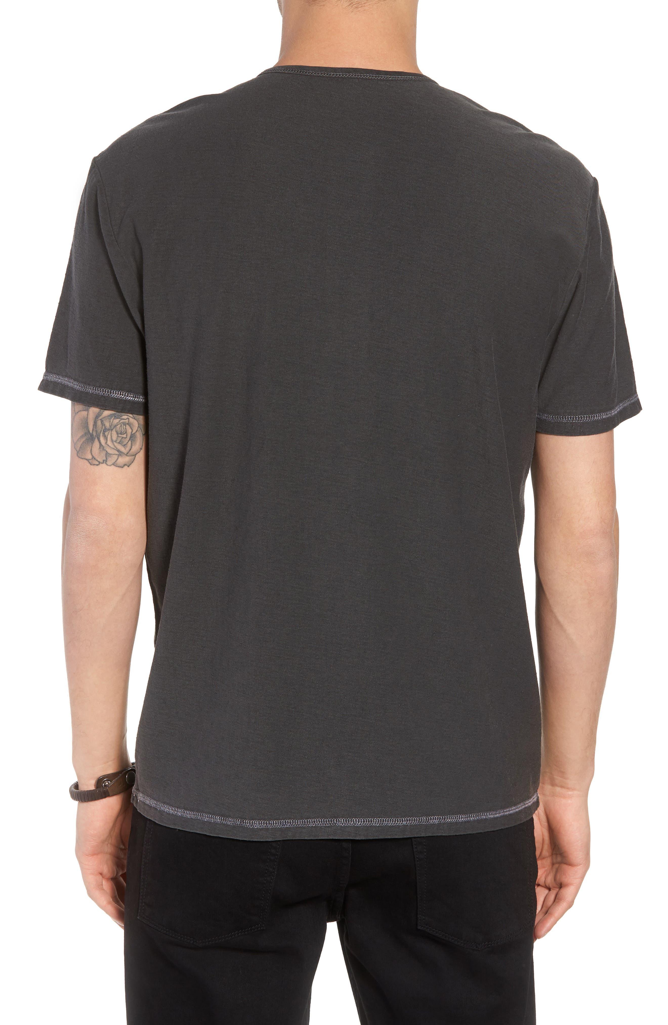 Short Sleeve Cotton Henley,                             Alternate thumbnail 2, color,                             Black