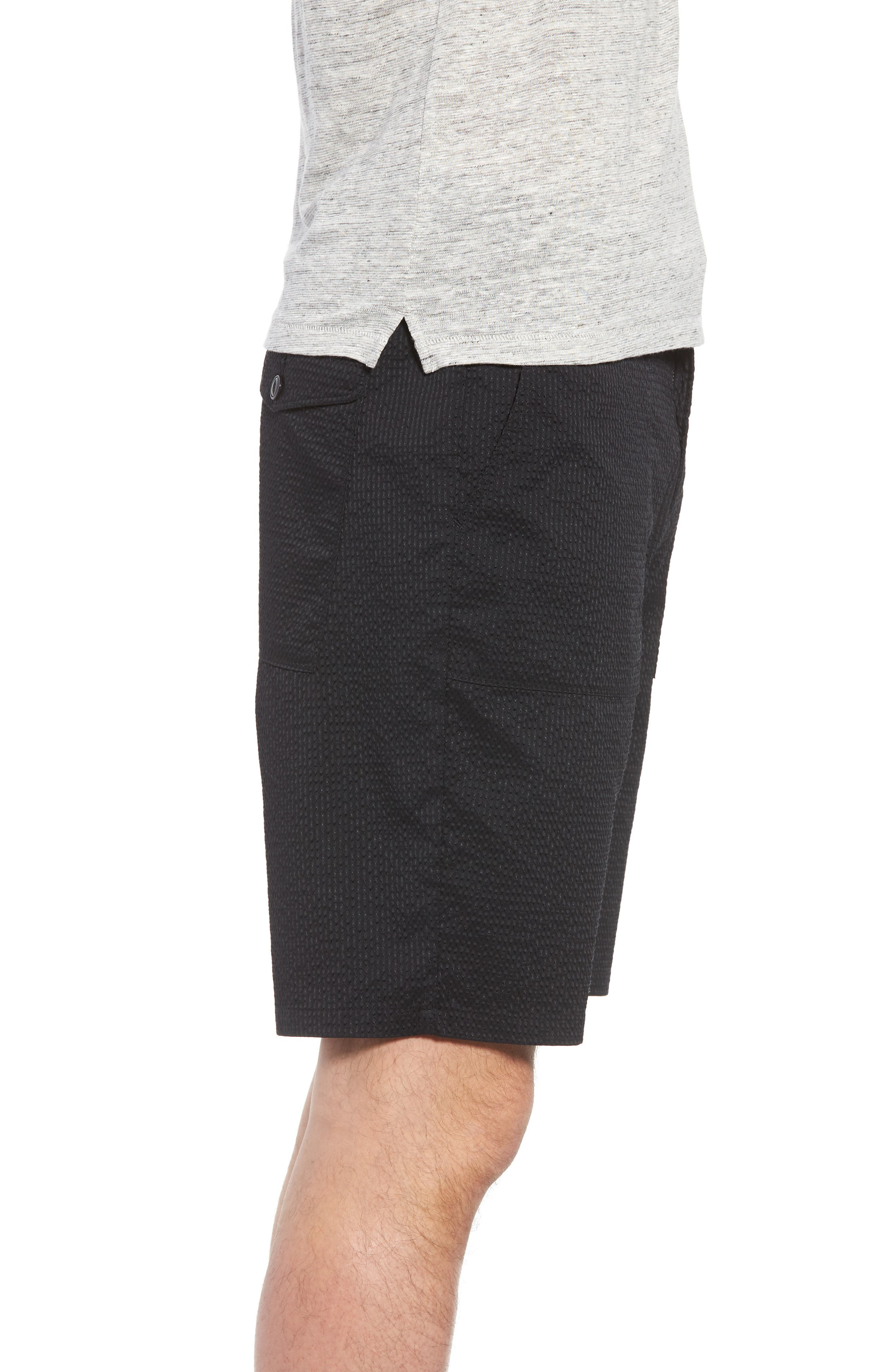 Utility Seersucker Shorts,                             Alternate thumbnail 3, color,                             Black Seersucker
