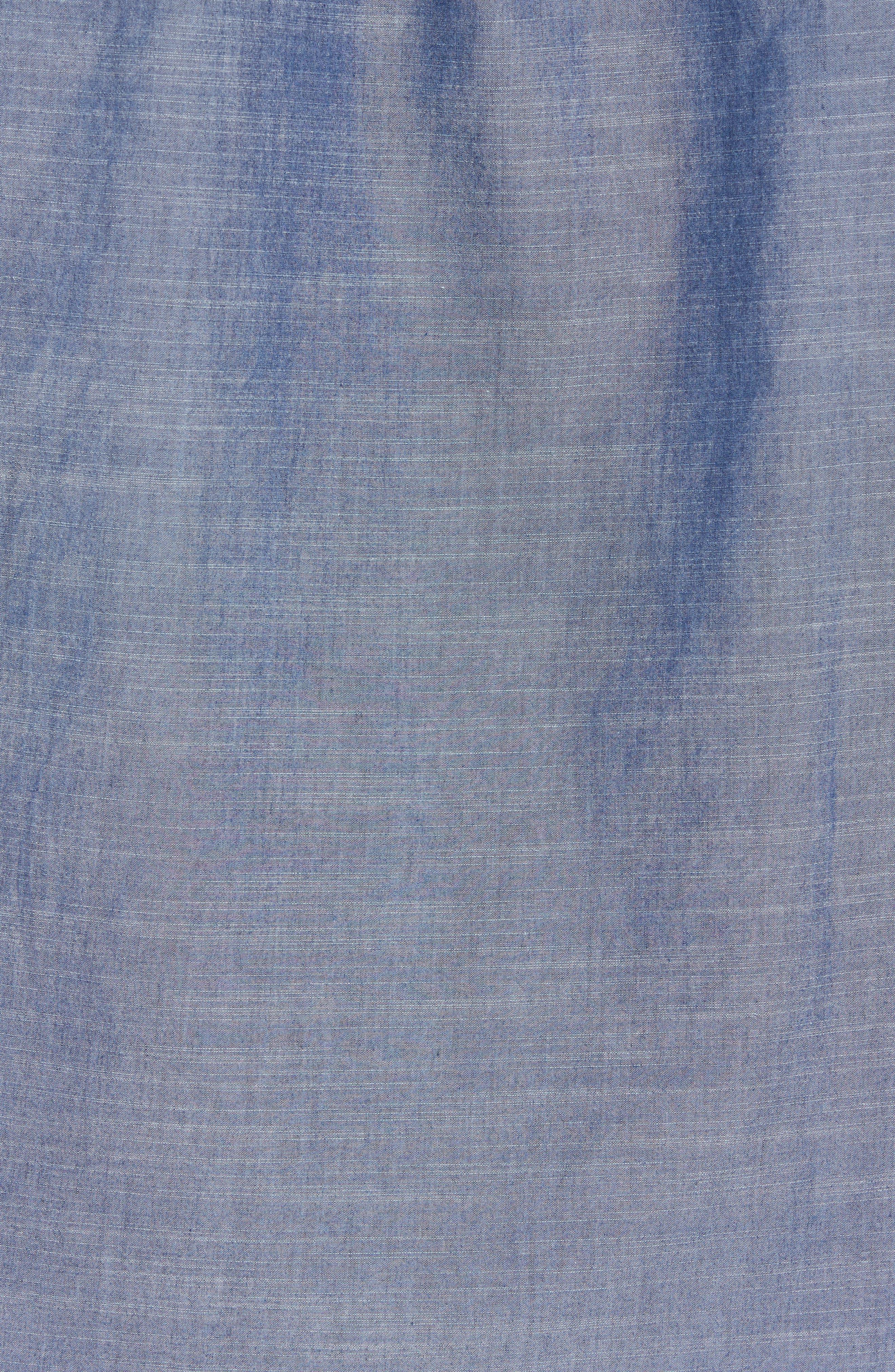 Lucas Regular Fit Chambray Sport Shirt,                             Alternate thumbnail 5, color,                             Indigo