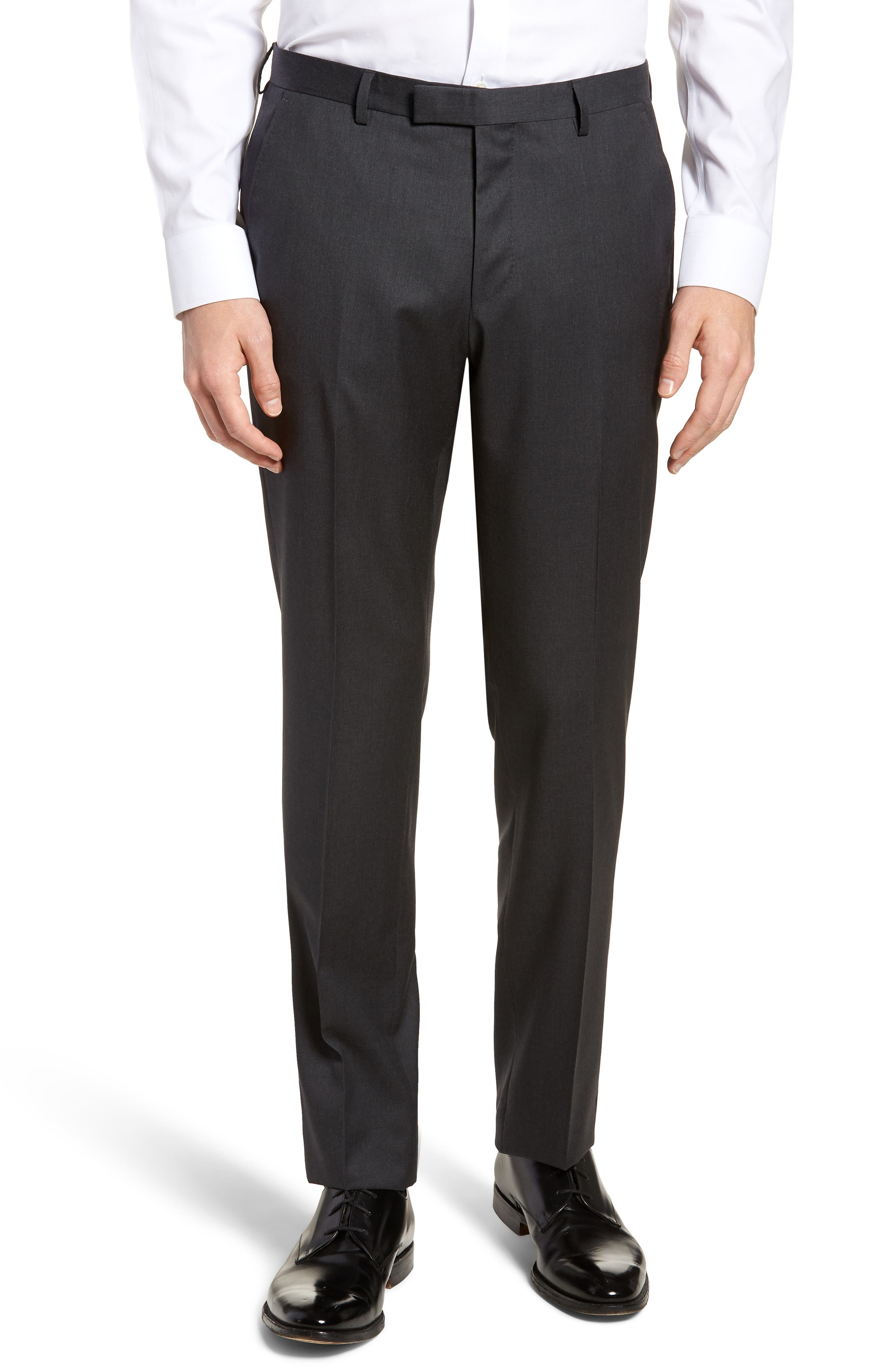 Lenon CYL Flat Front Solid Wool Trousers,                             Main thumbnail 1, color,                             Dark Grey
