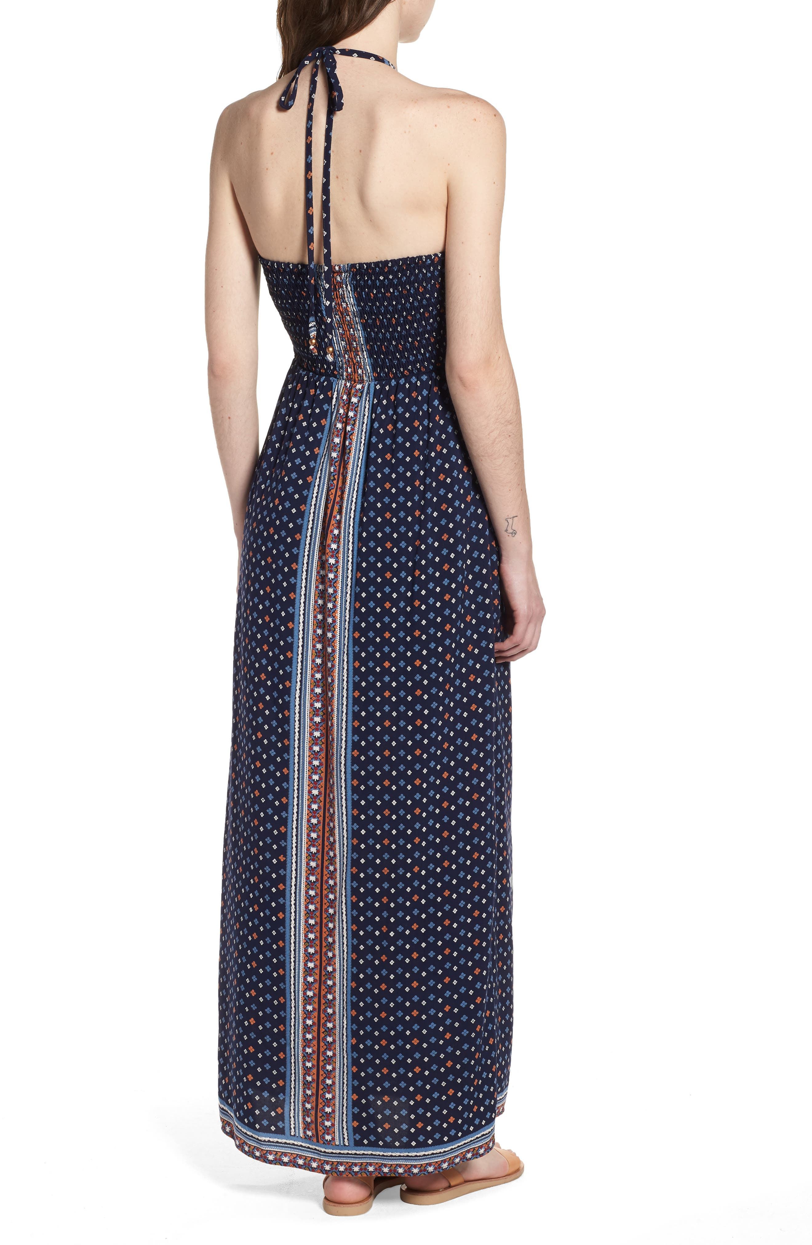 Halter Neck Maxi Romper,                             Alternate thumbnail 2, color,                             Navy