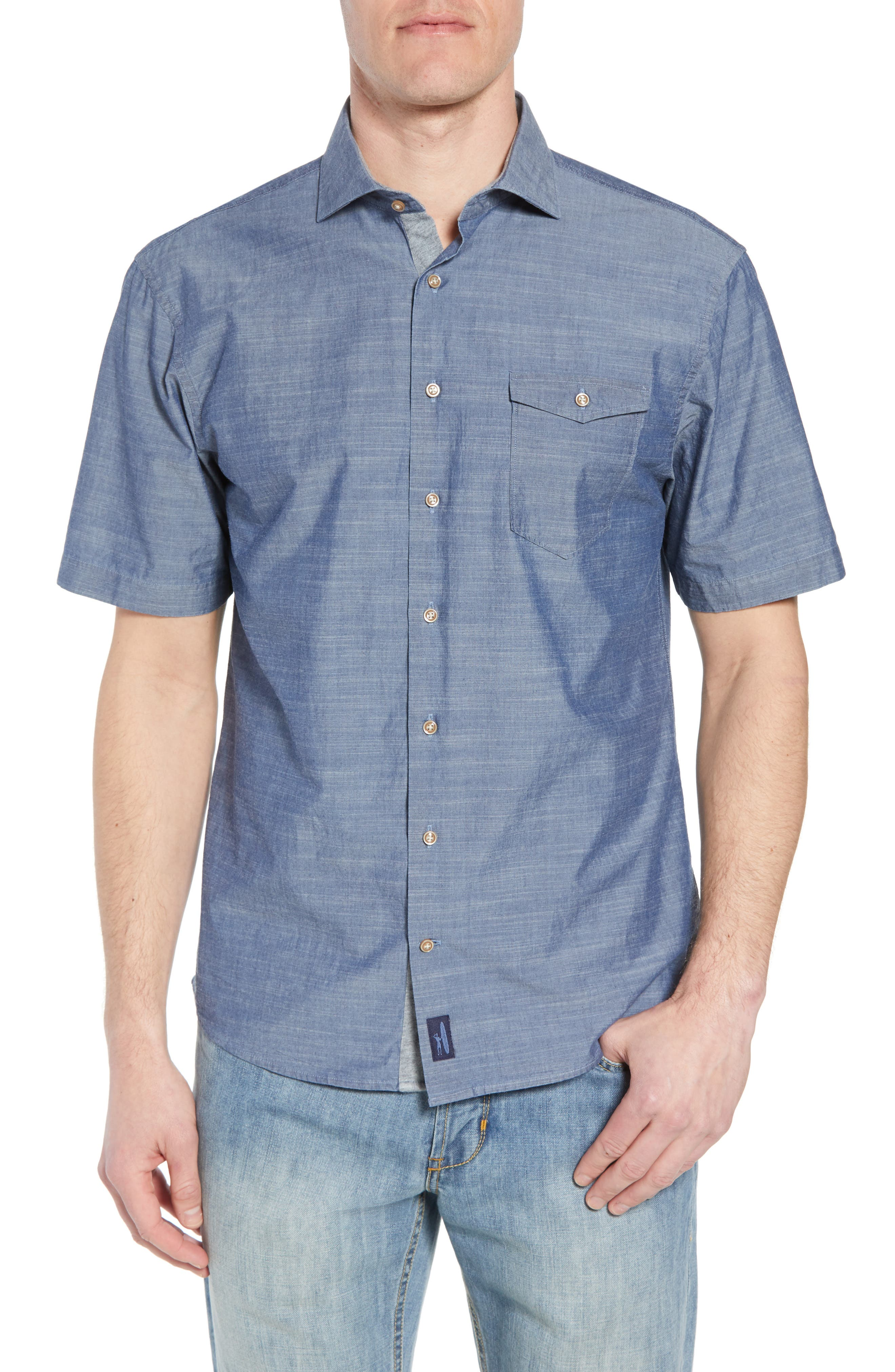 Lucas Regular Fit Chambray Sport Shirt,                             Main thumbnail 1, color,                             Indigo