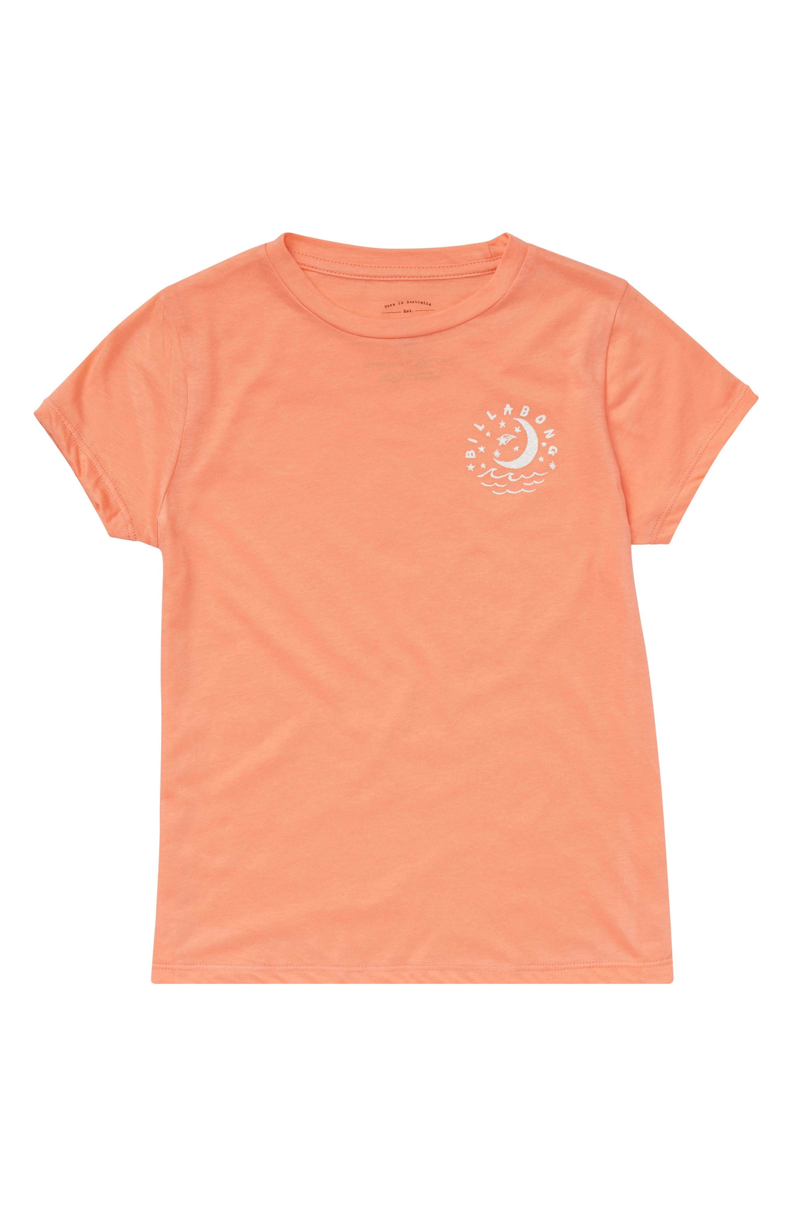 Night Sky Graphic Tee,                         Main,                         color, Sunkissed Coral