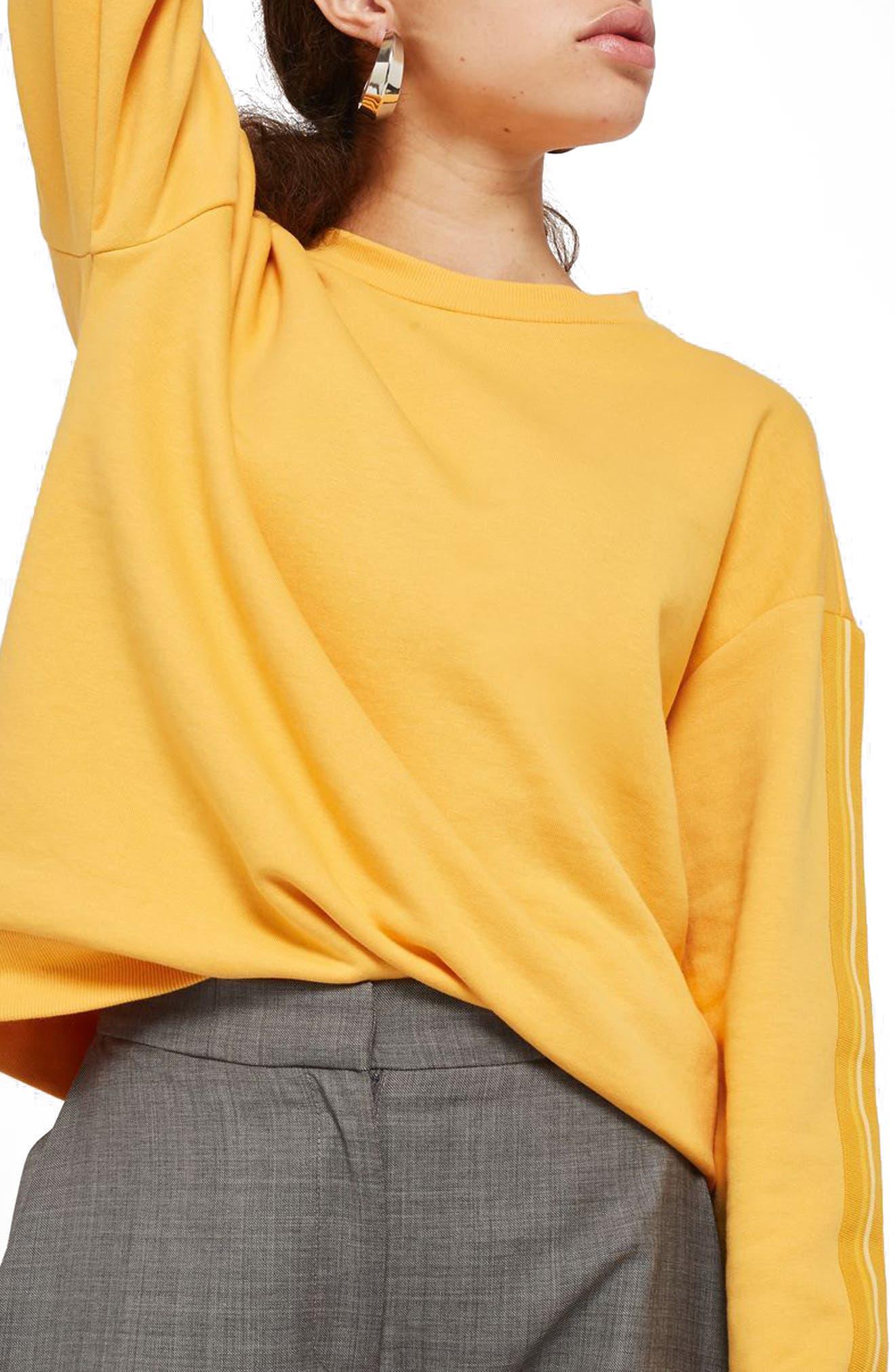 Taped Sleeve Sweatshirt,                         Main,                         color, Mustard