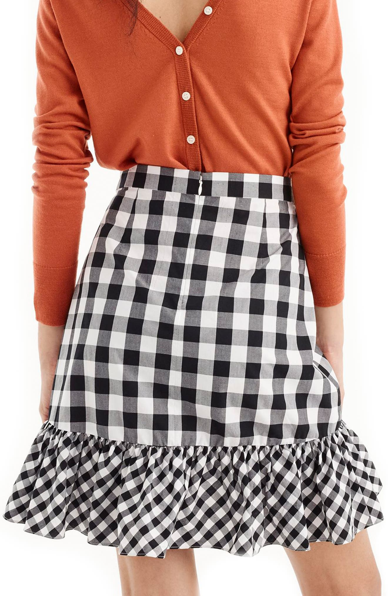 Pistachio Gingham Cotton Poplin Ruffle Skirt,                             Alternate thumbnail 2, color,                             Black