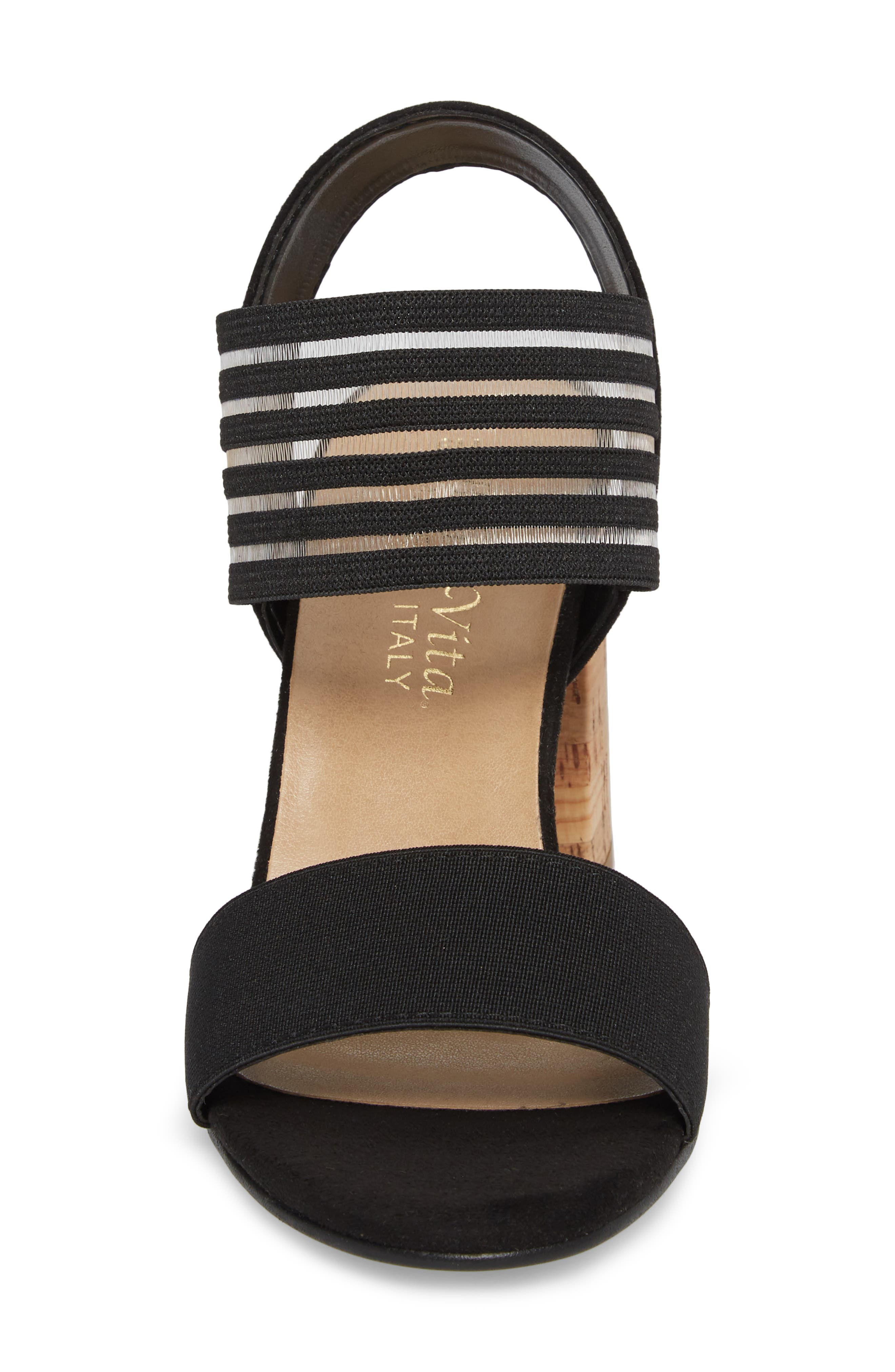 Dan Block Heel Sandal,                             Alternate thumbnail 4, color,                             Black Leather