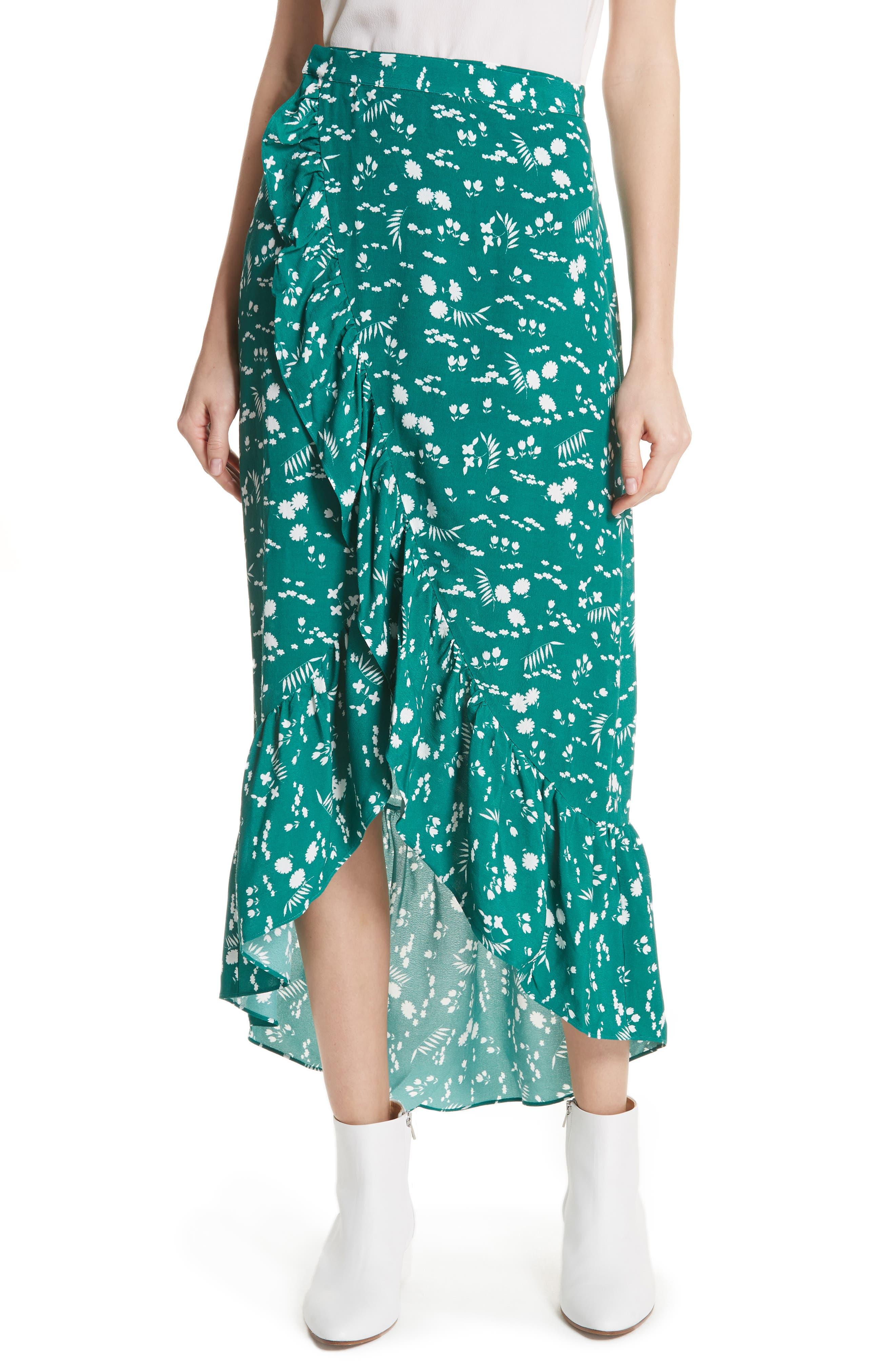 Floral High/Low Wrap Skirt,                             Main thumbnail 1, color,                             Imprime