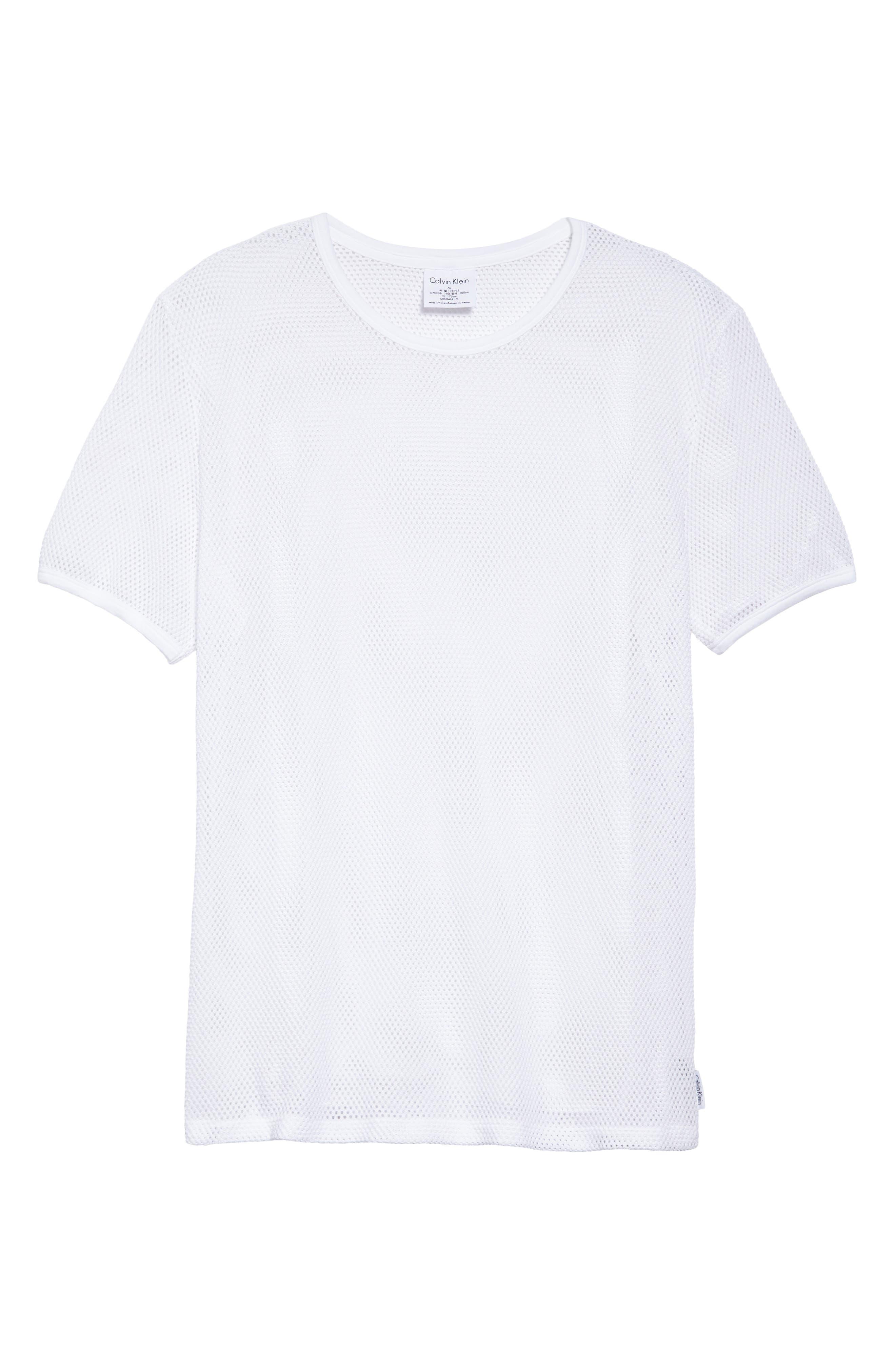 Stretch Mesh T-Shirt,                             Alternate thumbnail 6, color,                             White