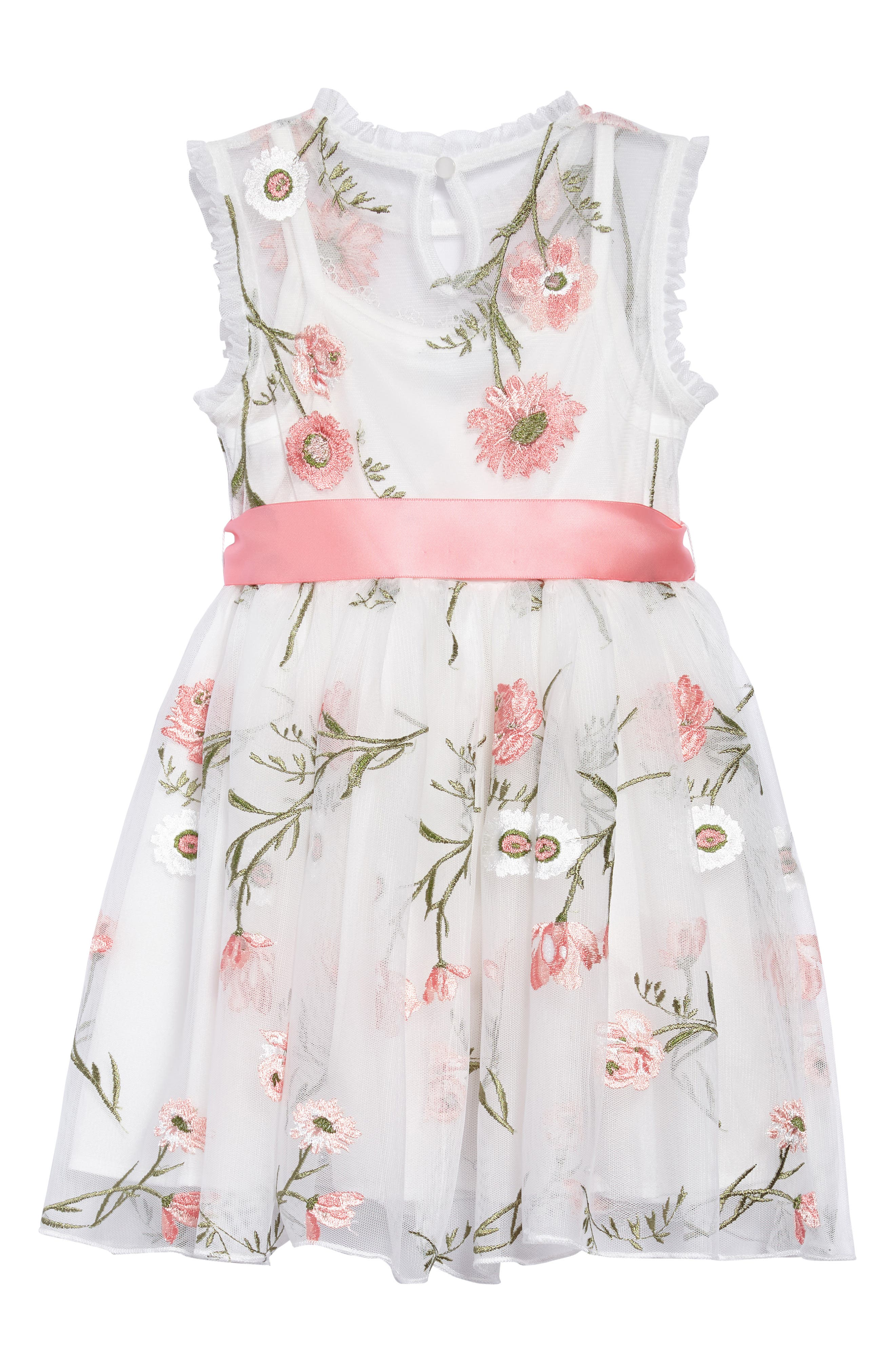 Embroidered Flower Dress,                             Alternate thumbnail 2, color,                             White/ Coral