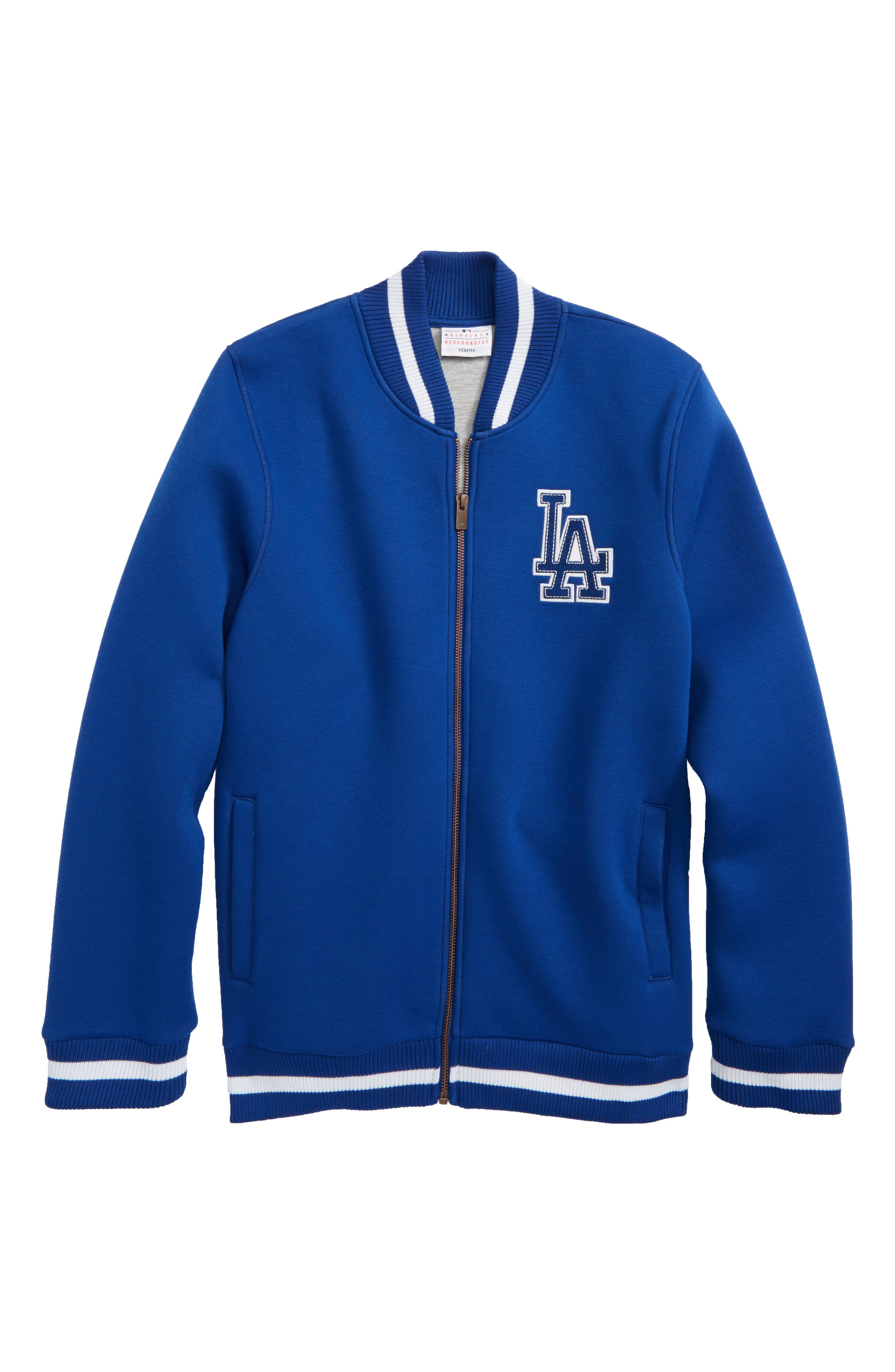 Classical Los Angeles Dodgers Knit Varsity Jacket,                         Main,                         color, Royal