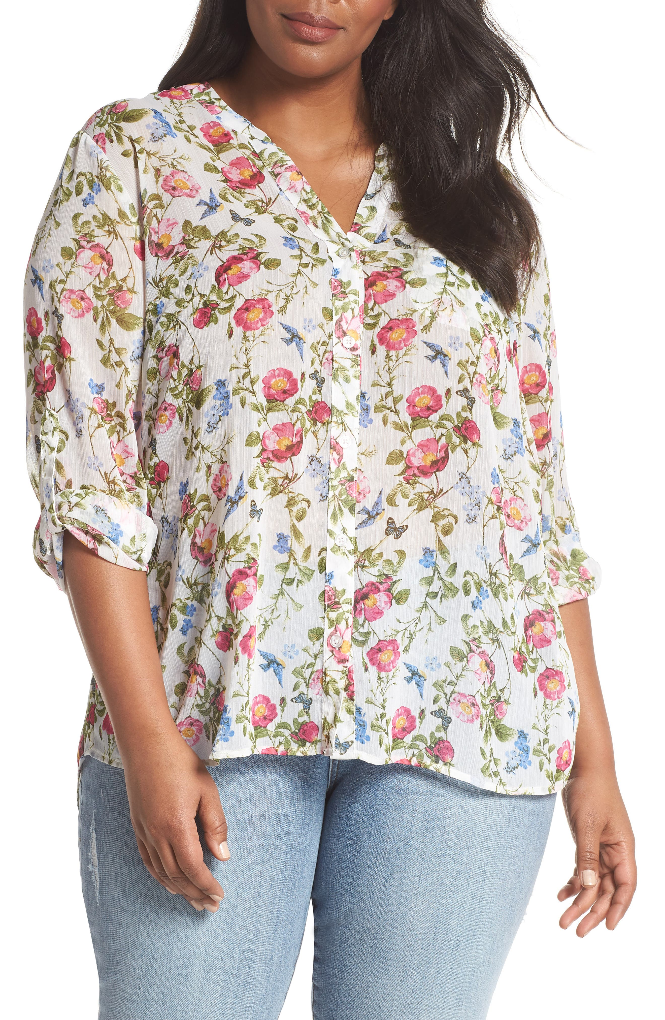 KUT from the Kloth Jasmine Floral Roll Sleeve Top (Plus Size)