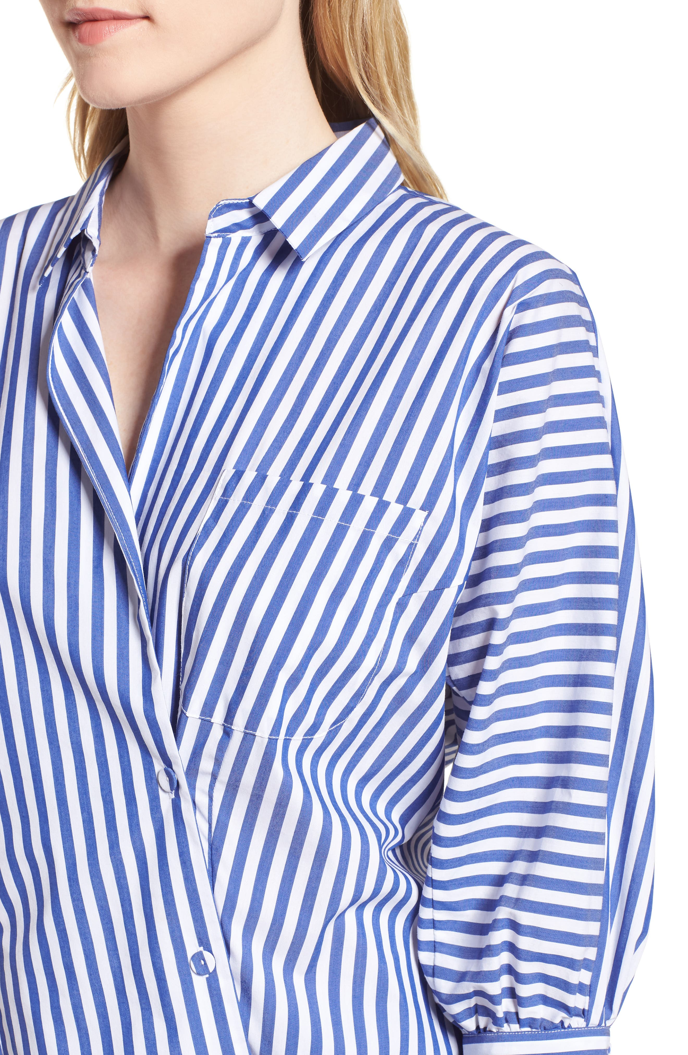 Asymmetrical Stripe Blouse,                             Alternate thumbnail 4, color,                             Abby Blue/ White