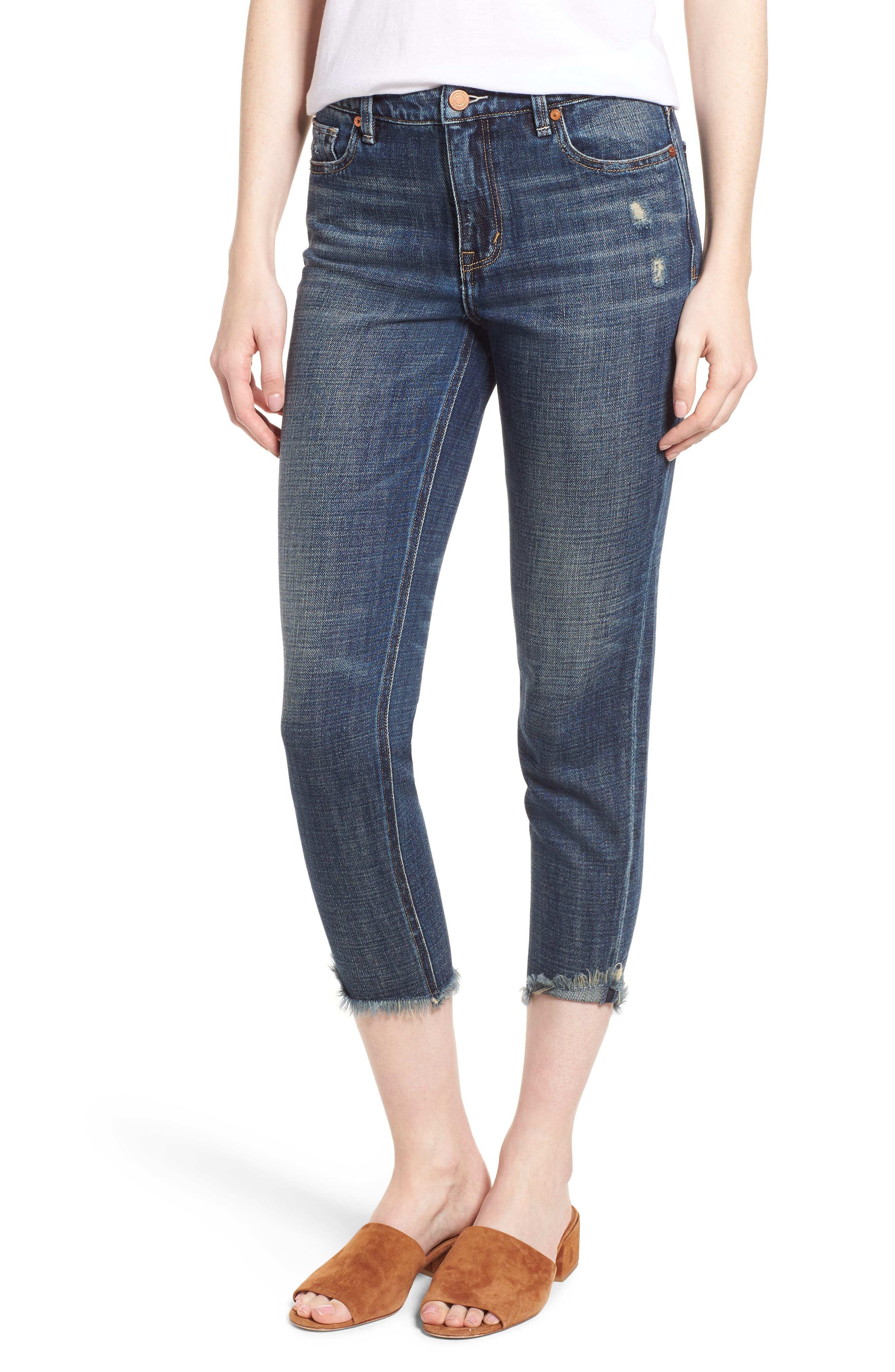 Vale Slant Fray Hem Jeans,                             Main thumbnail 1, color,                             Balsam