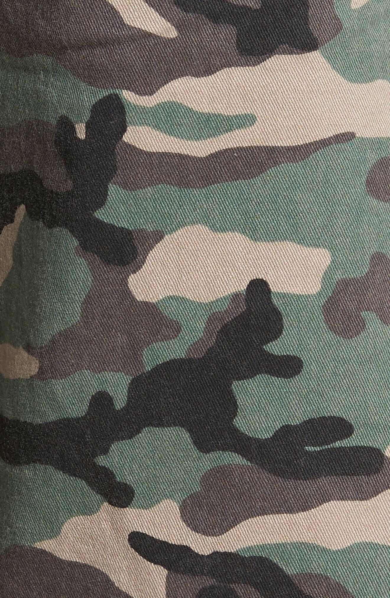 Camo Print Cutoff Twill Shorts,                             Alternate thumbnail 5, color,                             Brown Green Camo