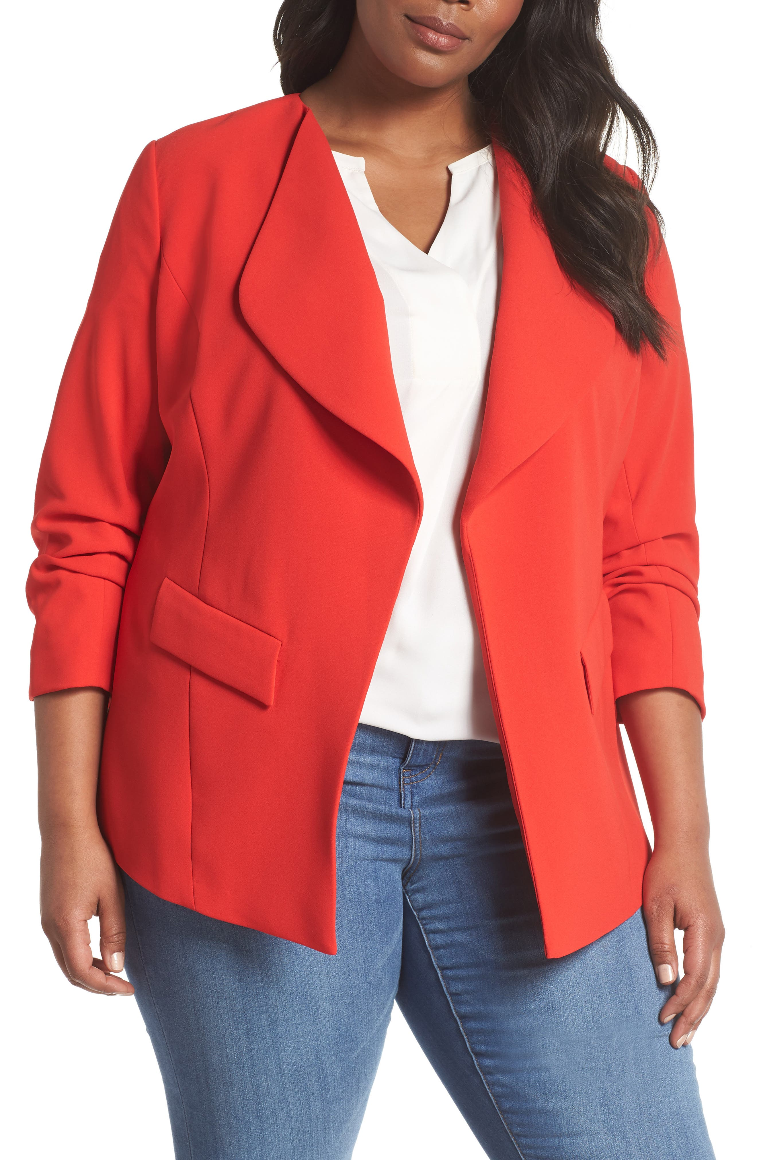 Drape Neck Jacket,                         Main,                         color, Red Bloom