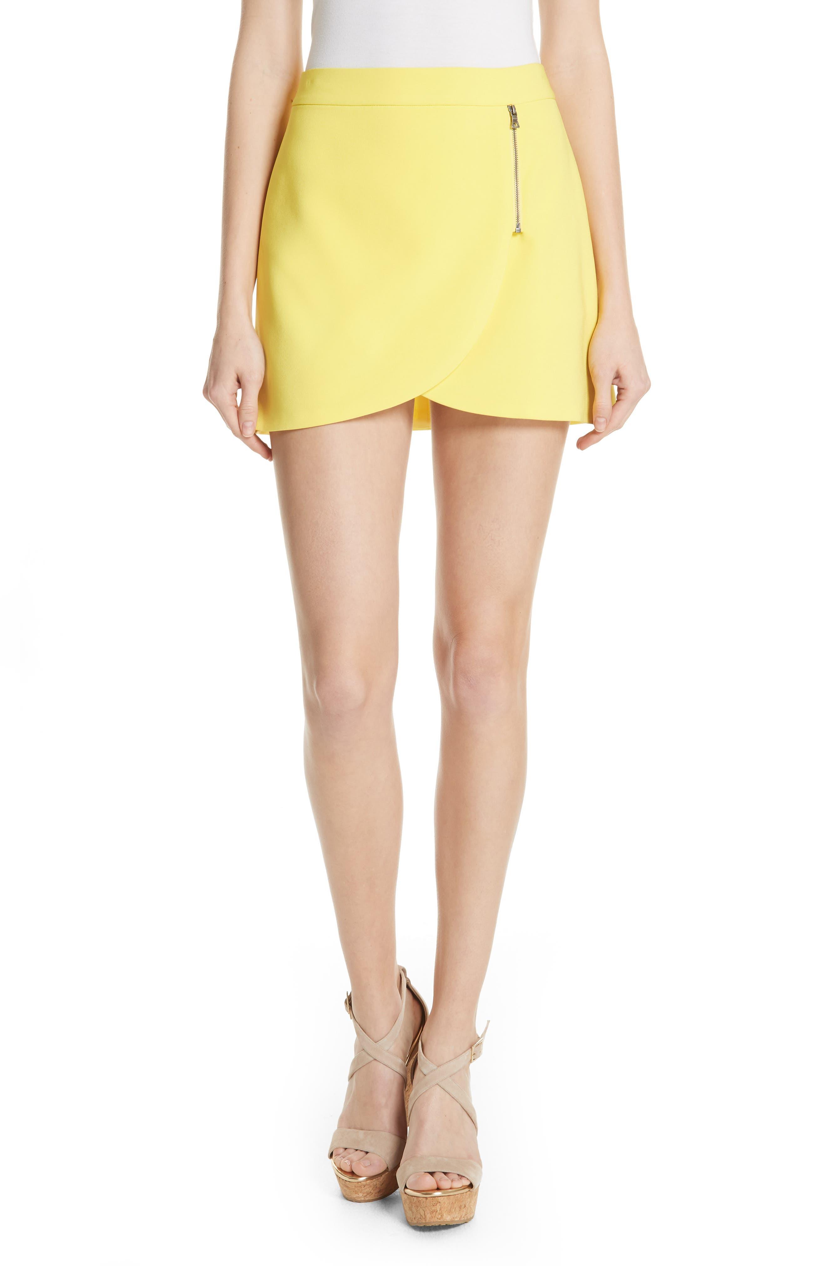 Lennon Side Zip Miniskirt,                             Main thumbnail 1, color,                             Lemon