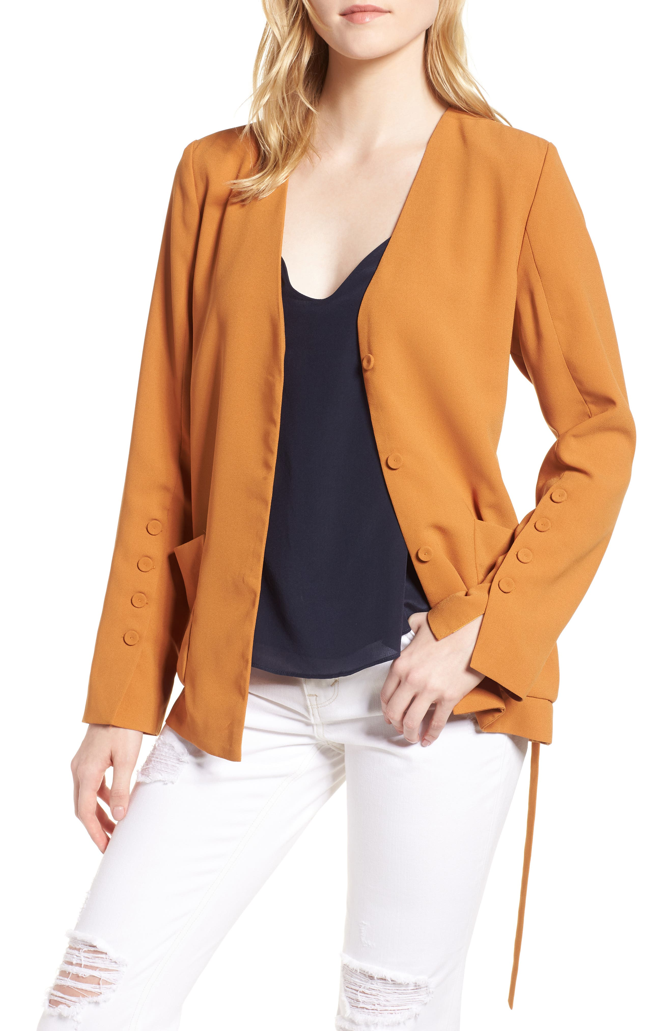 Tie Front Jacket,                             Main thumbnail 1, color,                             Honey Ginger