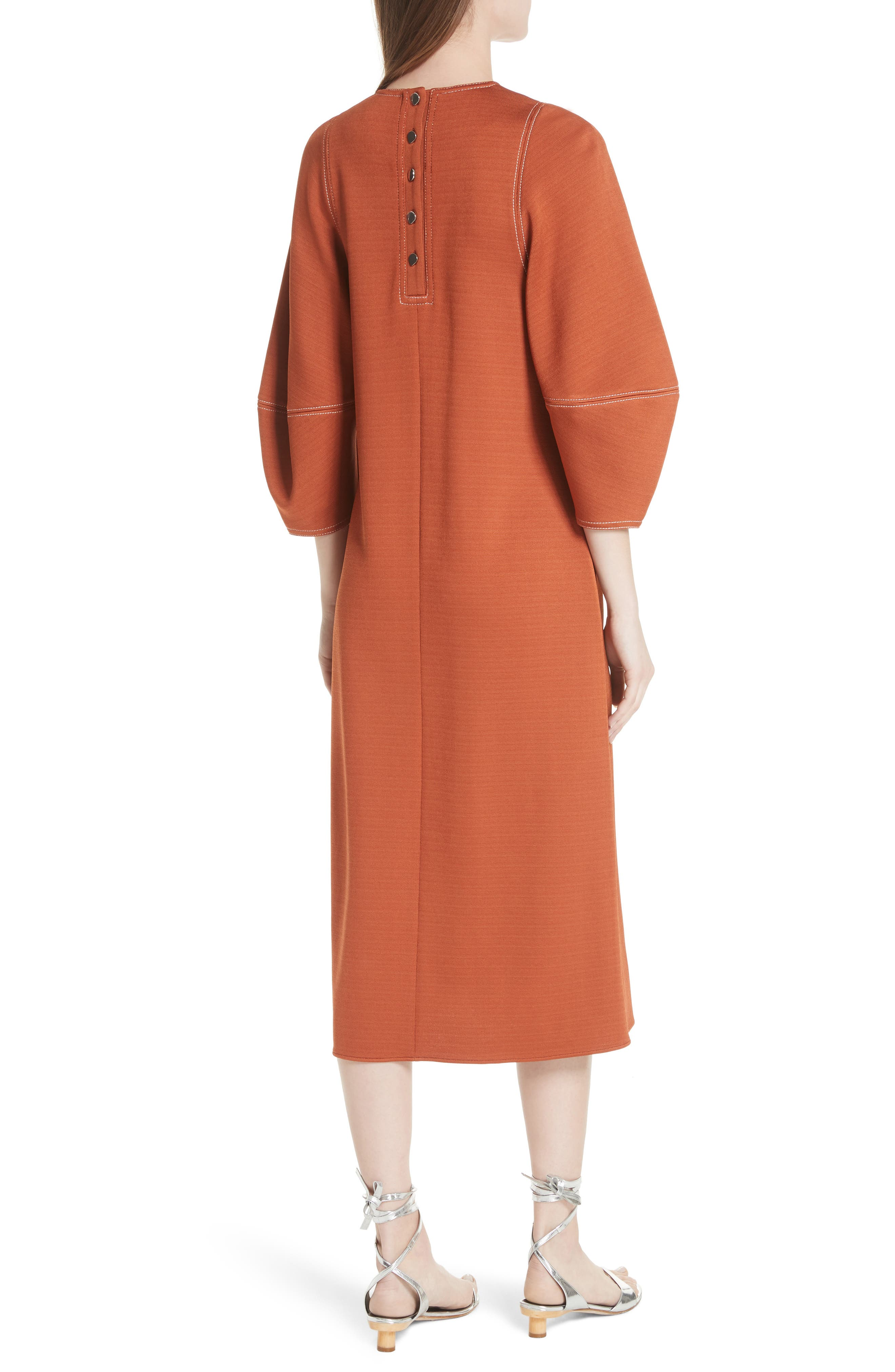 Balloon Sleeve Crepe Knit Midi Dress,                             Alternate thumbnail 2, color,                             Rust