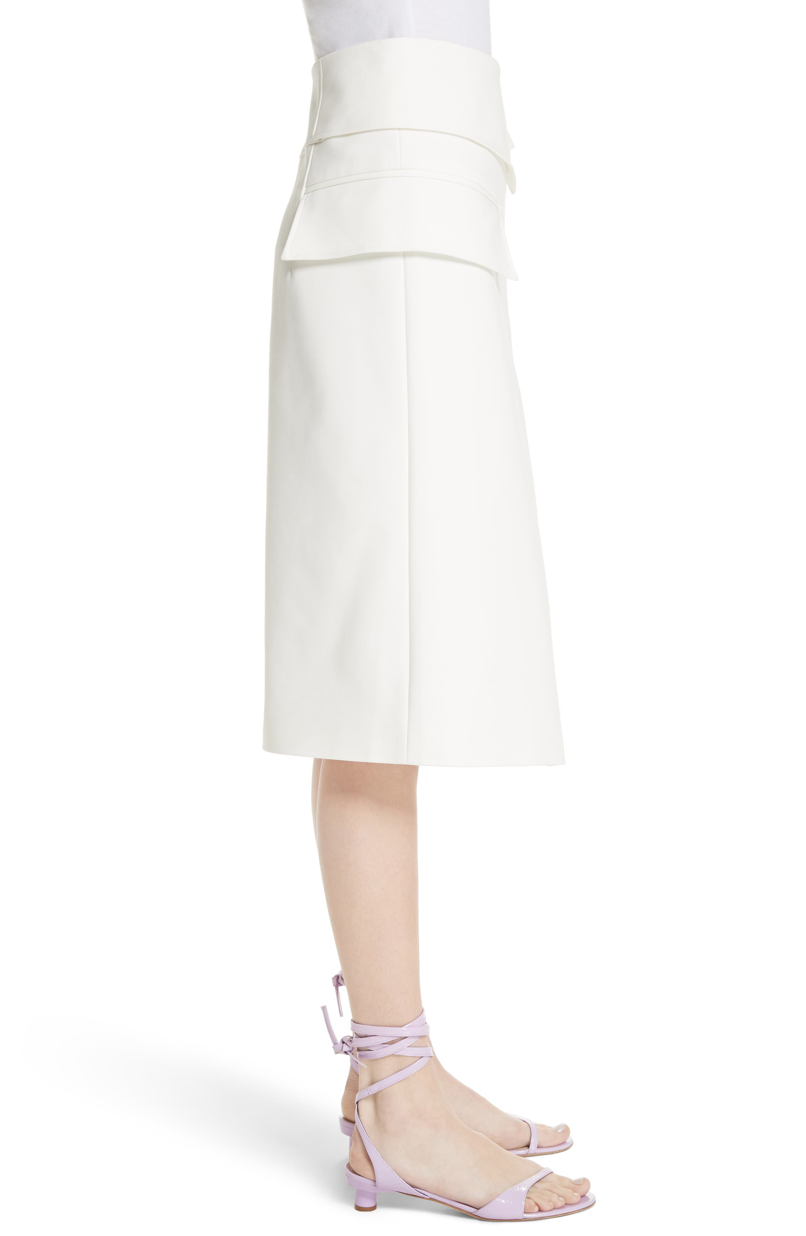 Flap Detail Urban Stretch Skirt,                             Alternate thumbnail 3, color,                             Ivory