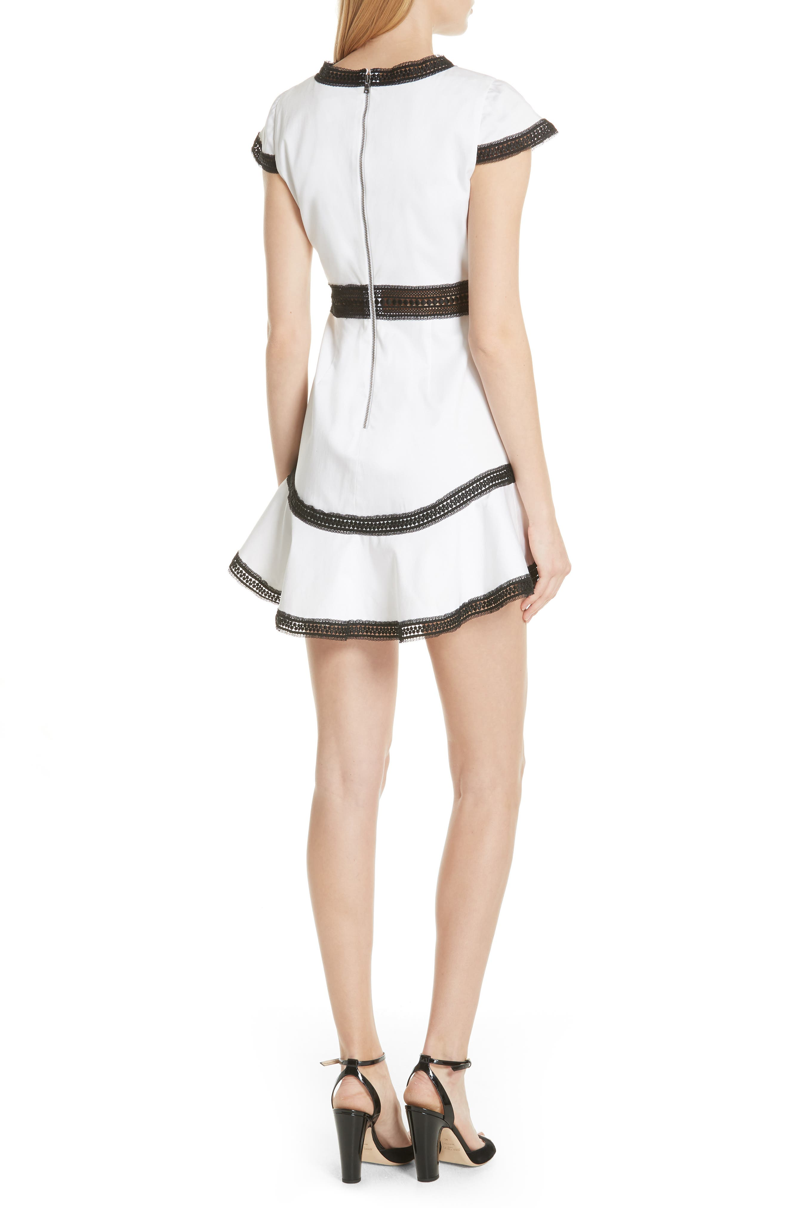 Rapunzel Stretch Cotton Fit & Flare Minidress,                             Alternate thumbnail 2, color,                             White/ Black