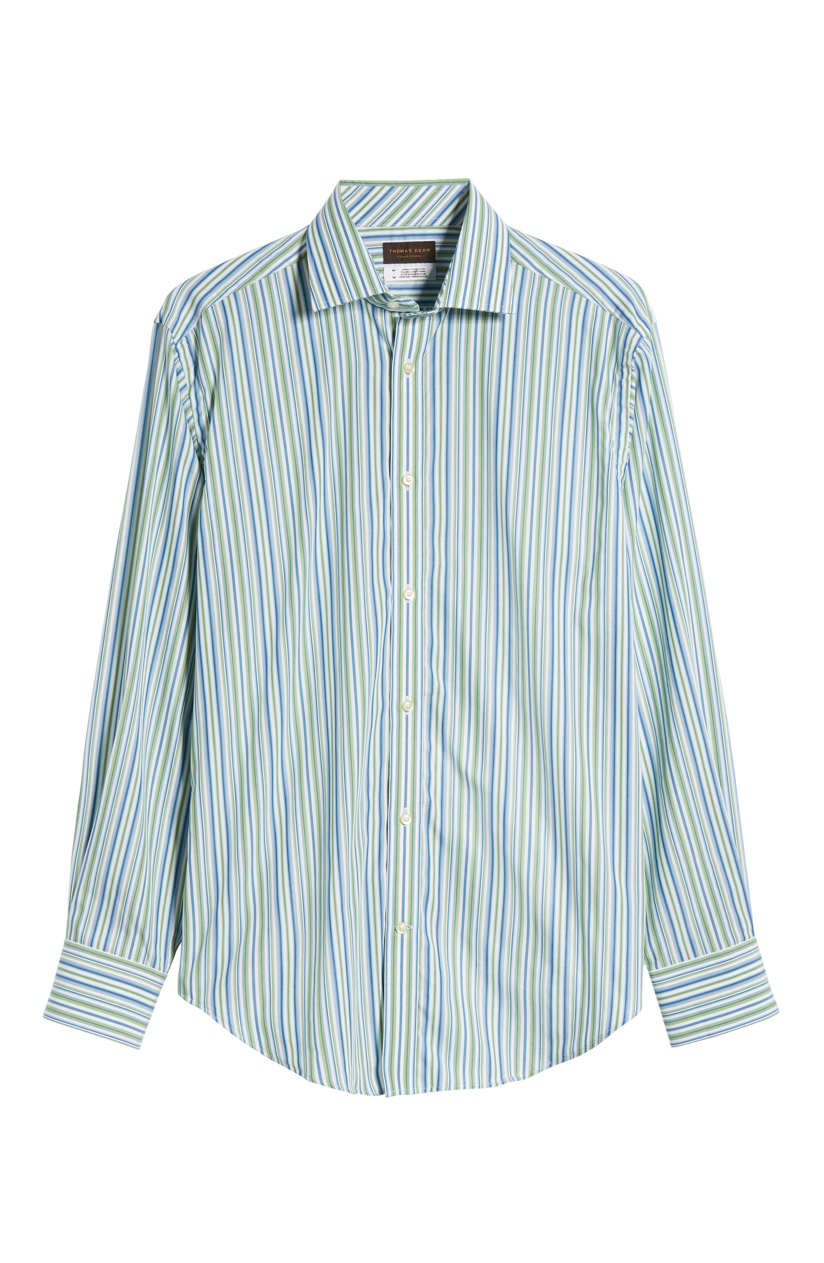 Regular Fit Stripe Sport Shirt,                             Alternate thumbnail 6, color,                             Green