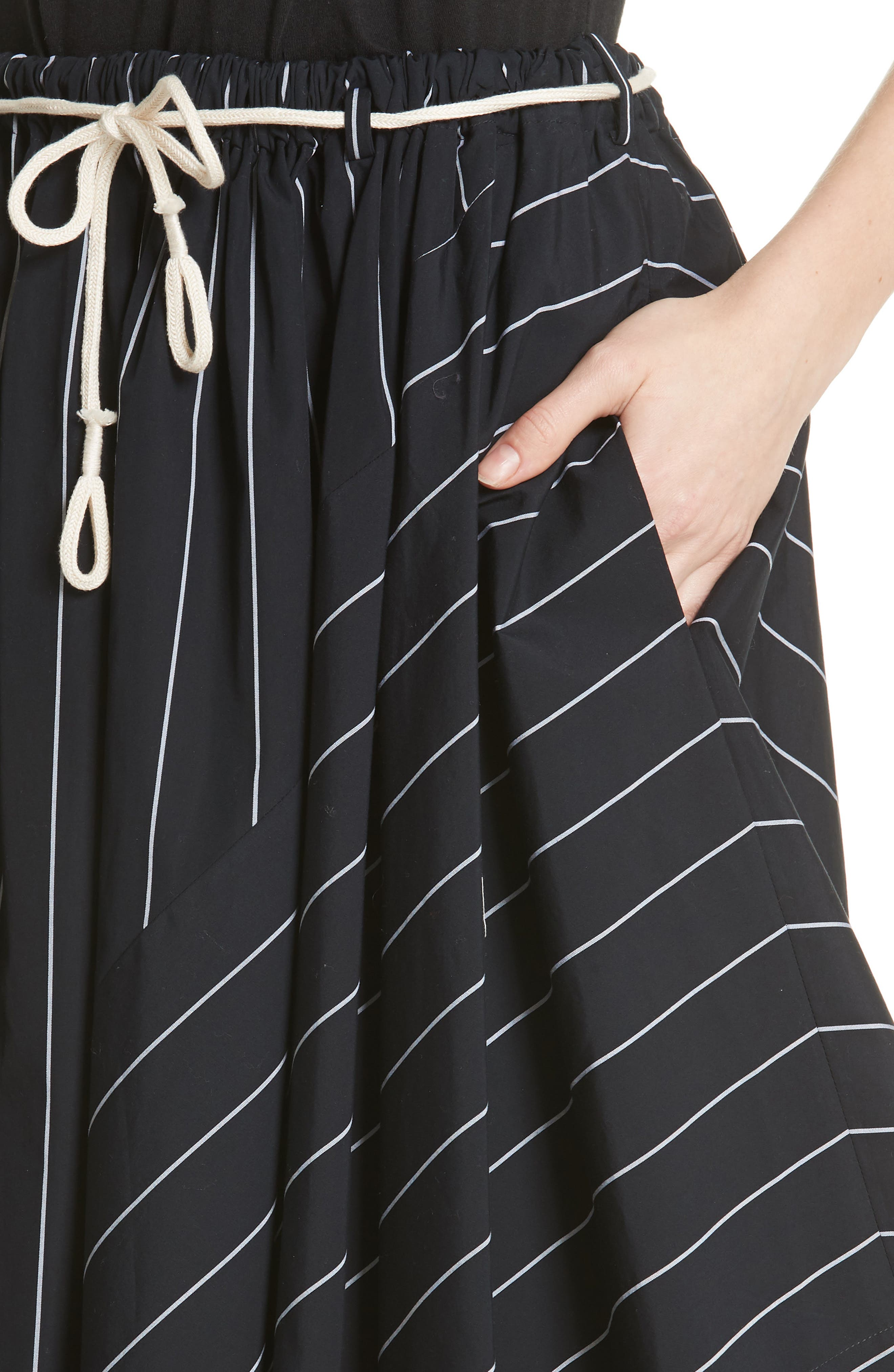 Skinny Stripe Asymmetrical Cotton Skirt,                             Alternate thumbnail 4, color,                             Coastal/ Optic White