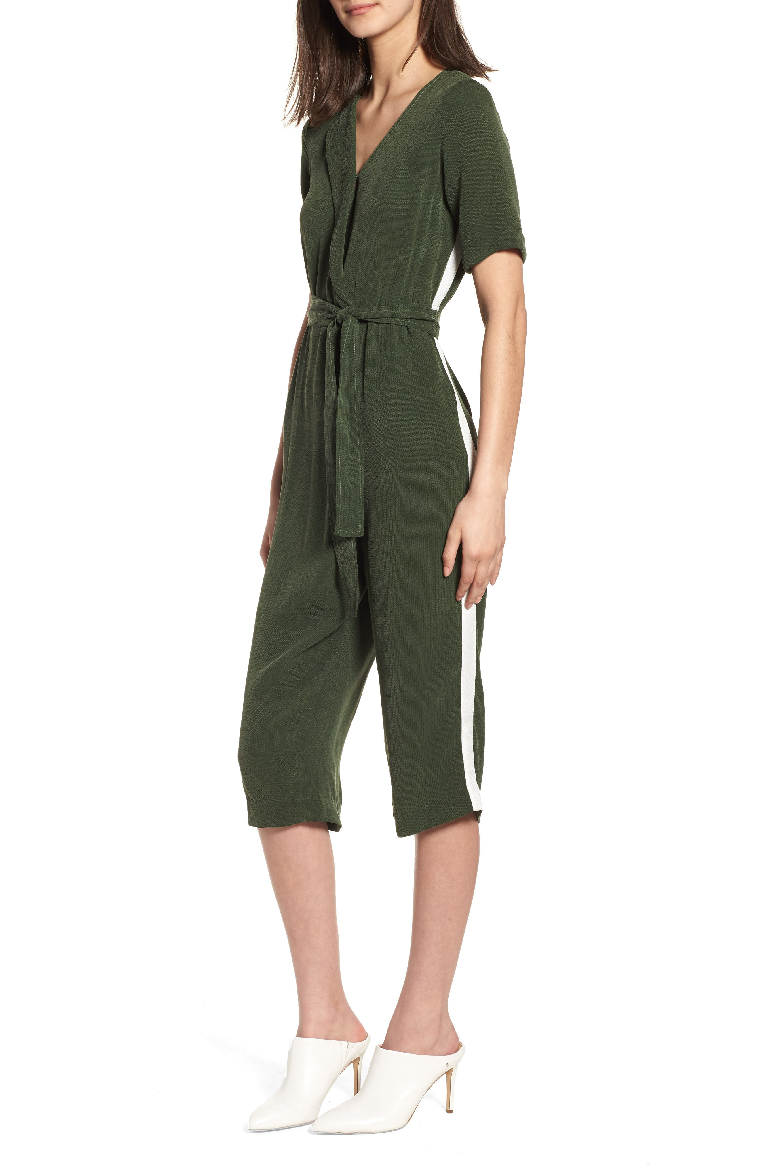 Downstairs Crop Jumpsuit,                         Main,                         color, Green