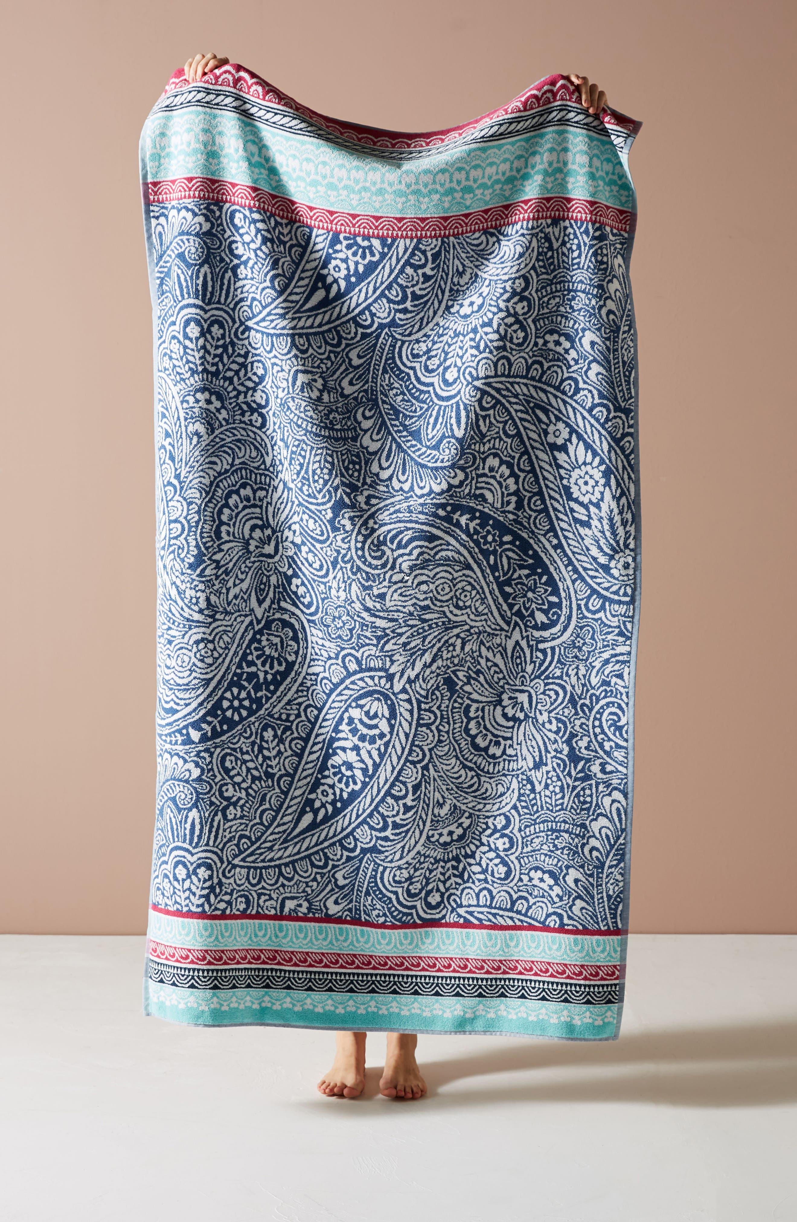 Paisley Beach Towel,                             Main thumbnail 1, color,                             Blue Combo