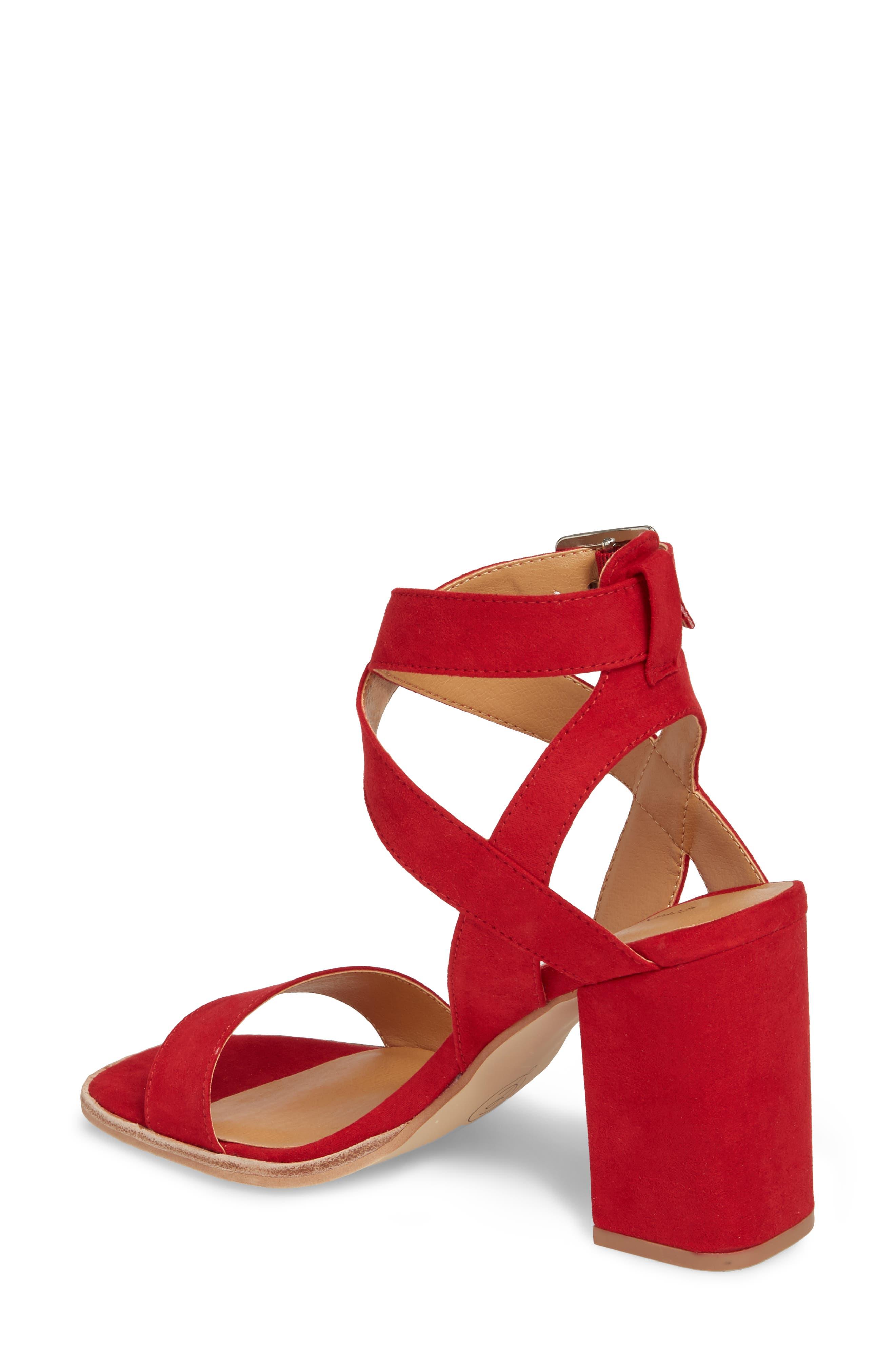 Stassi Block Heel Sandal,                             Alternate thumbnail 2, color,                             Red