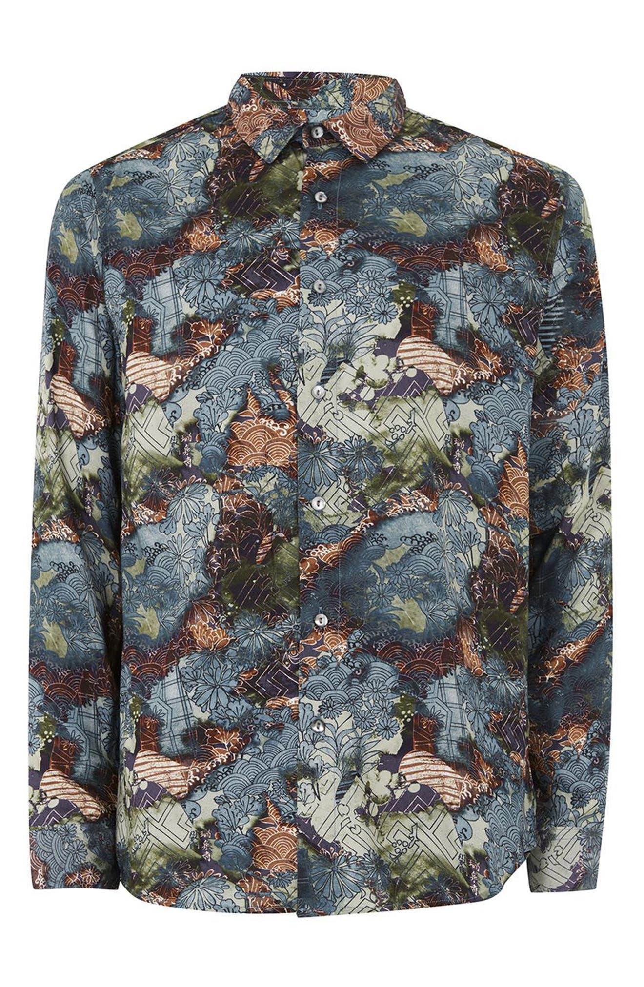 Multi Print Shirt,                             Alternate thumbnail 4, color,                             Blue Multi