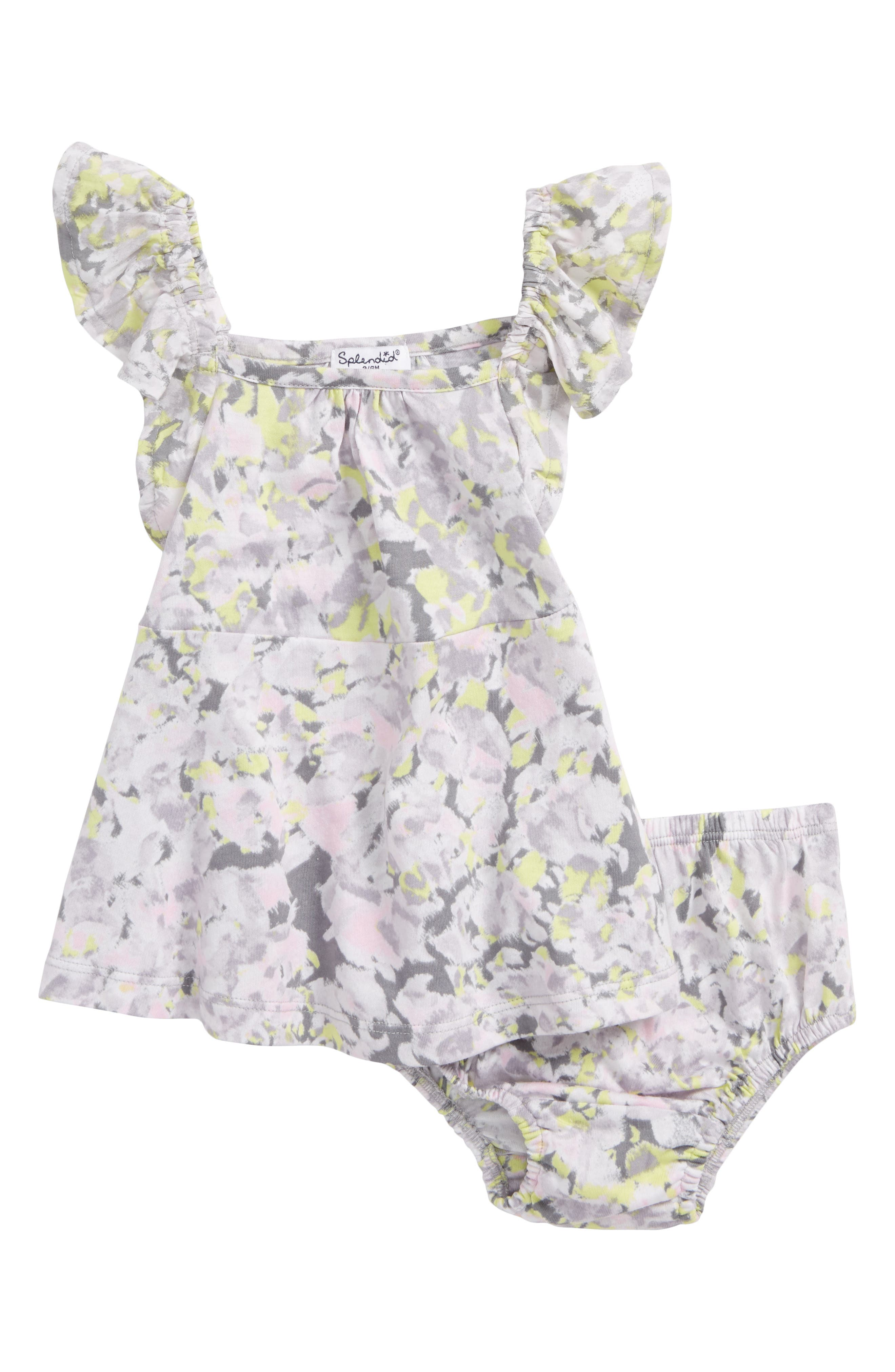 Allover Print Dress,                         Main,                         color, Light Grey