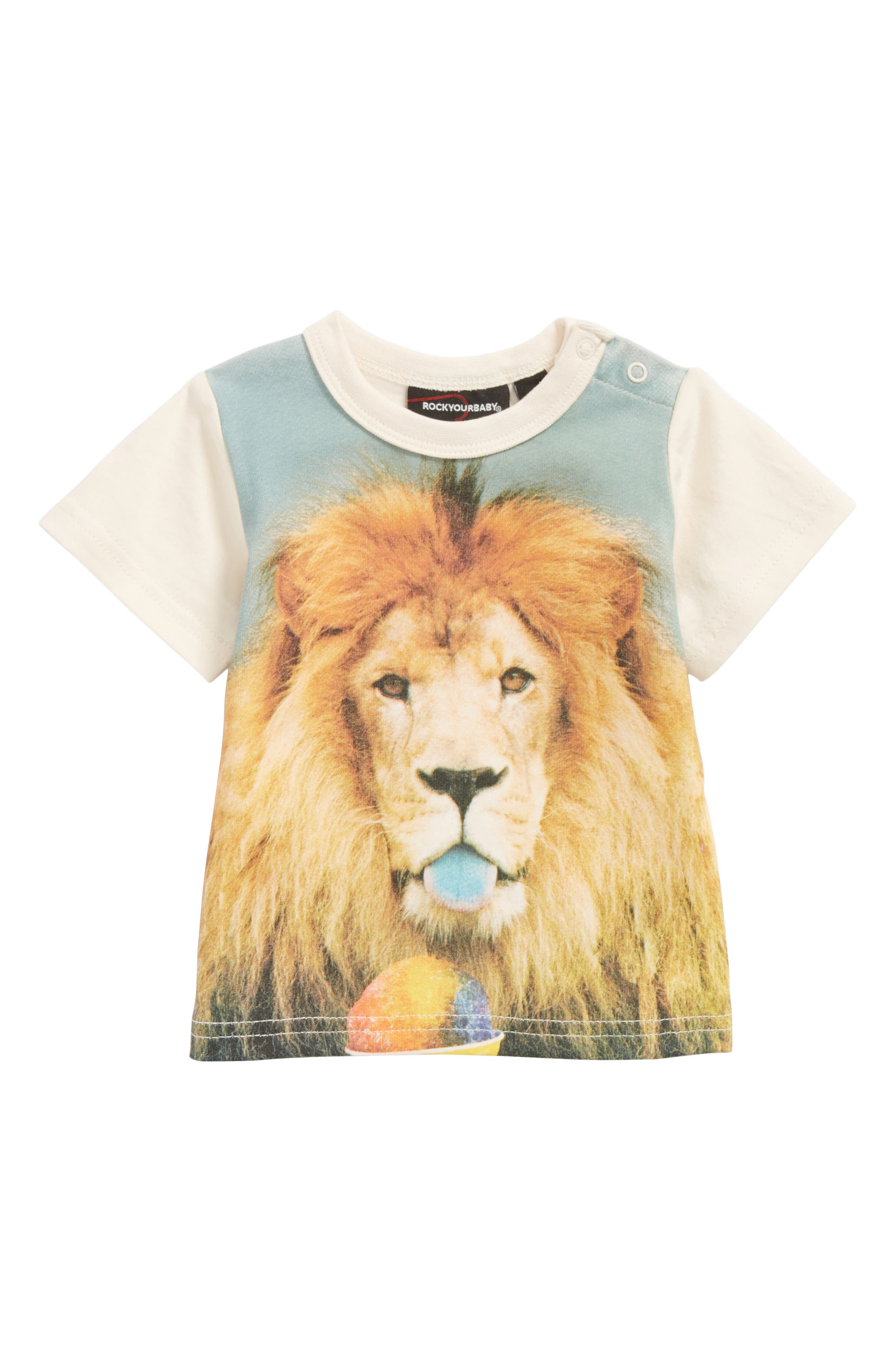 Summertime Lion Graphic T-Shirt,                             Main thumbnail 1, color,                             Ivory