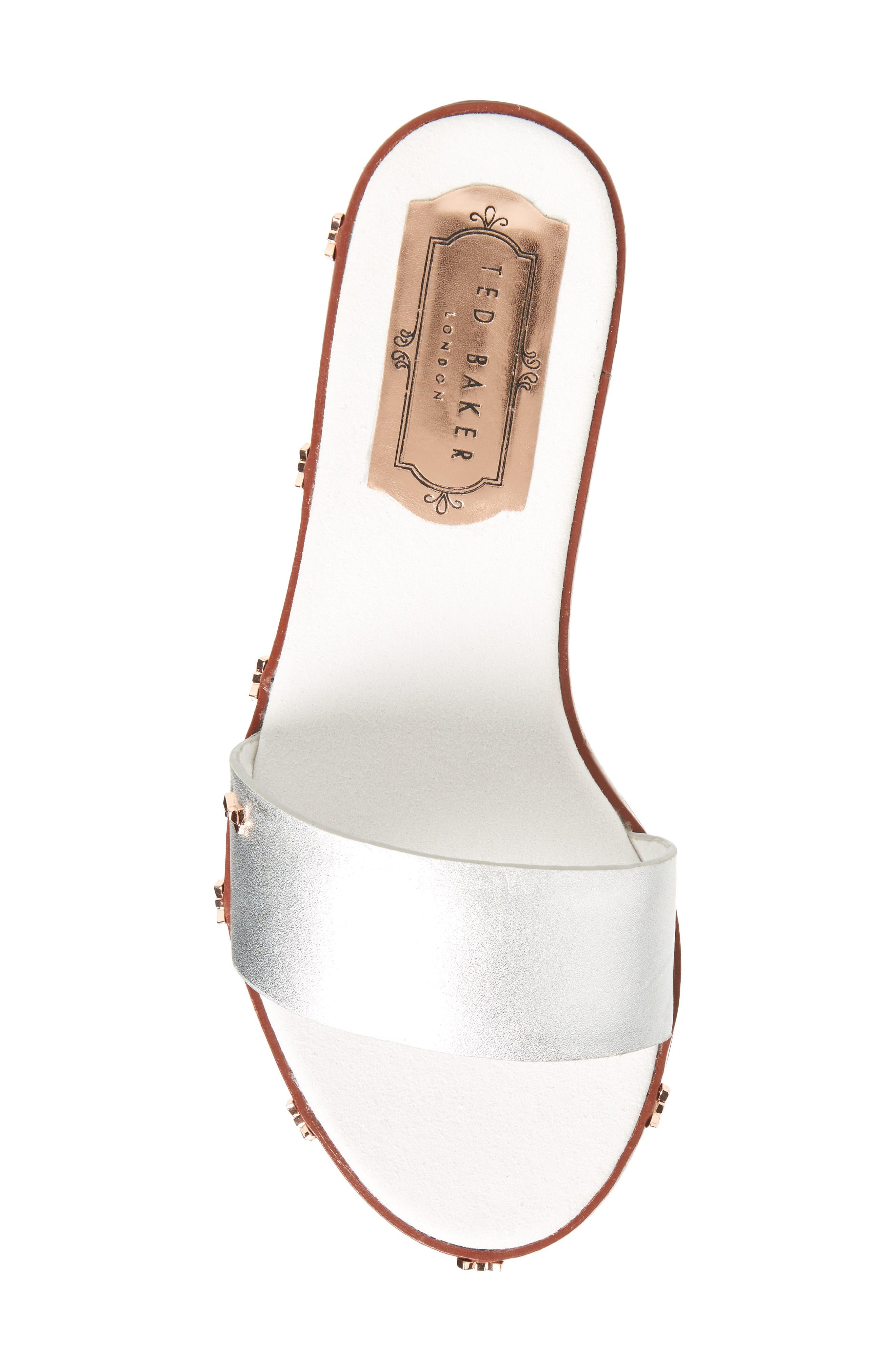 Kytti Slide Sandal,                             Alternate thumbnail 5, color,                             Silver Leather