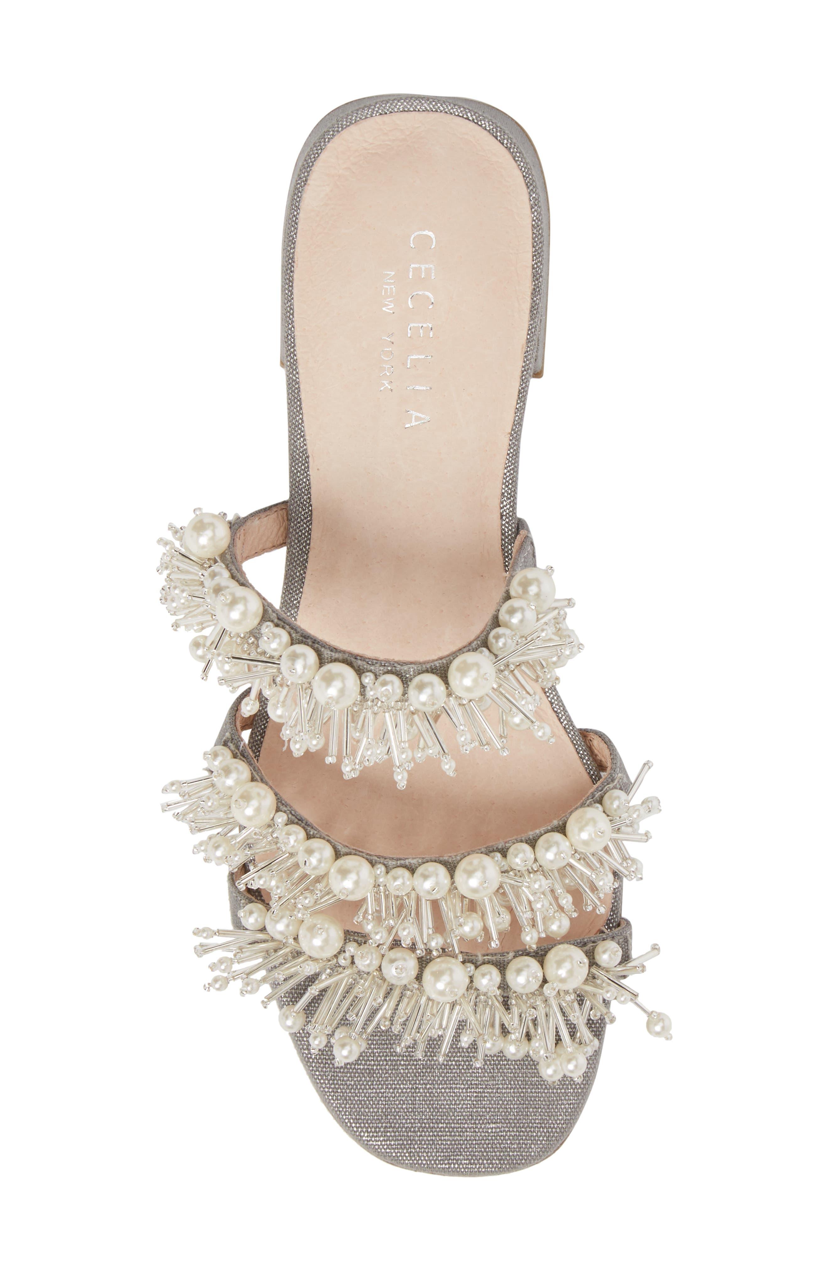 Fes Embellished Slide Sandal,                             Alternate thumbnail 5, color,                             Grey Fabric