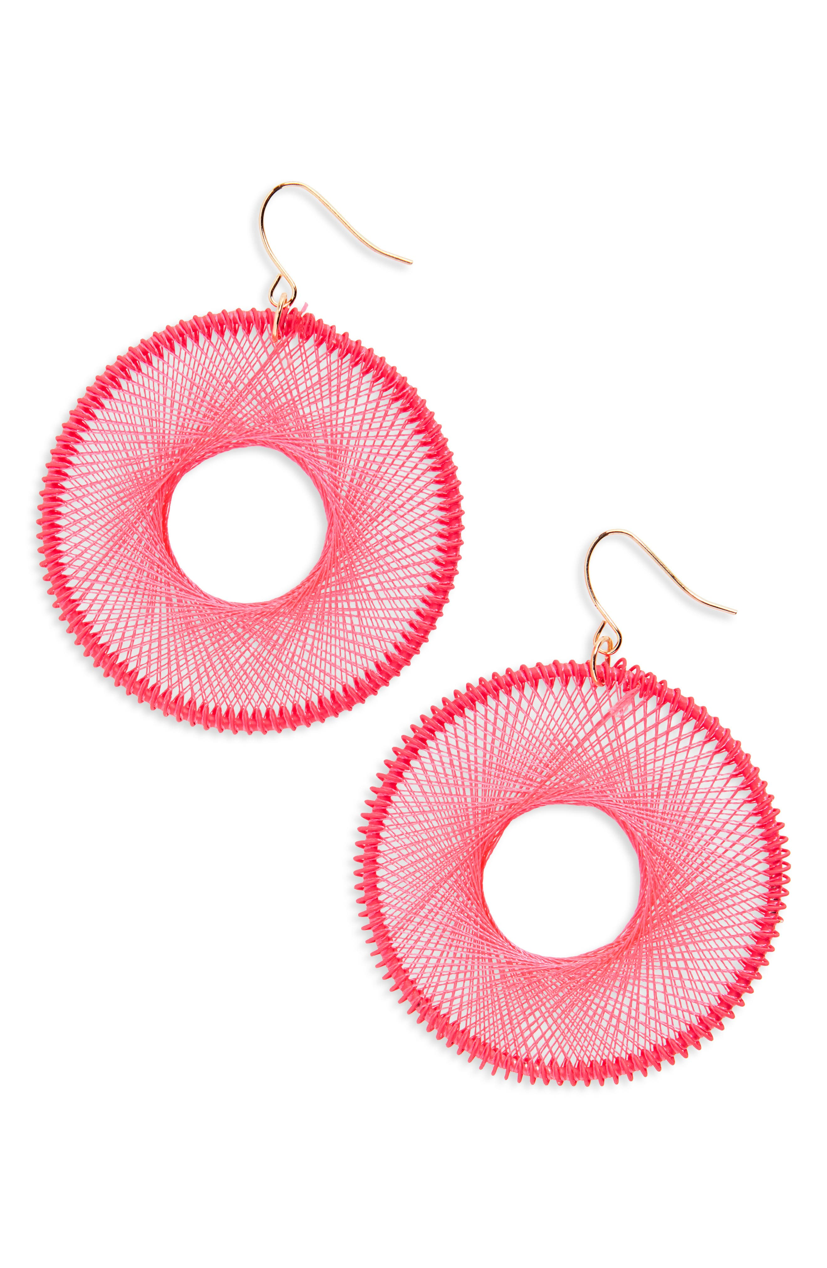 Silk Thread Hoop Earrings,                             Main thumbnail 1, color,                             Hot Pink