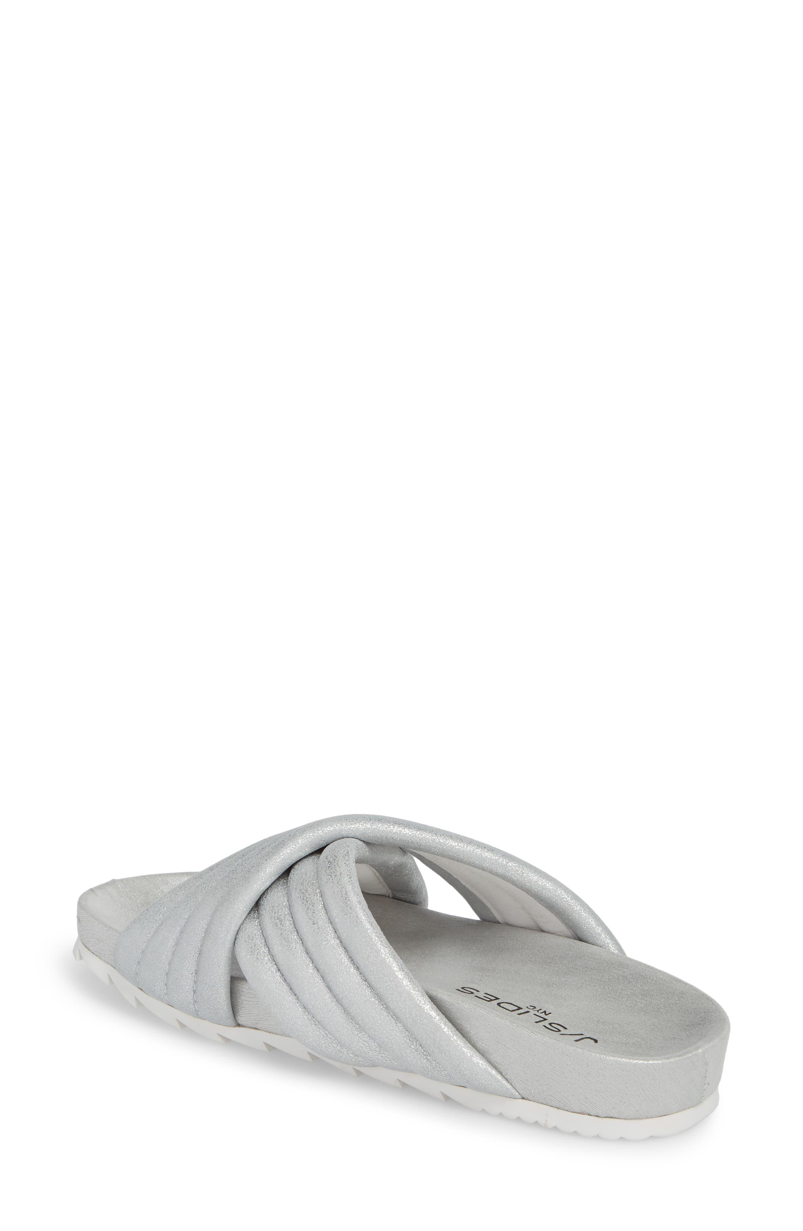 Crisscross Slide Sandal,                             Alternate thumbnail 2, color,                             Silver Metallic Leather