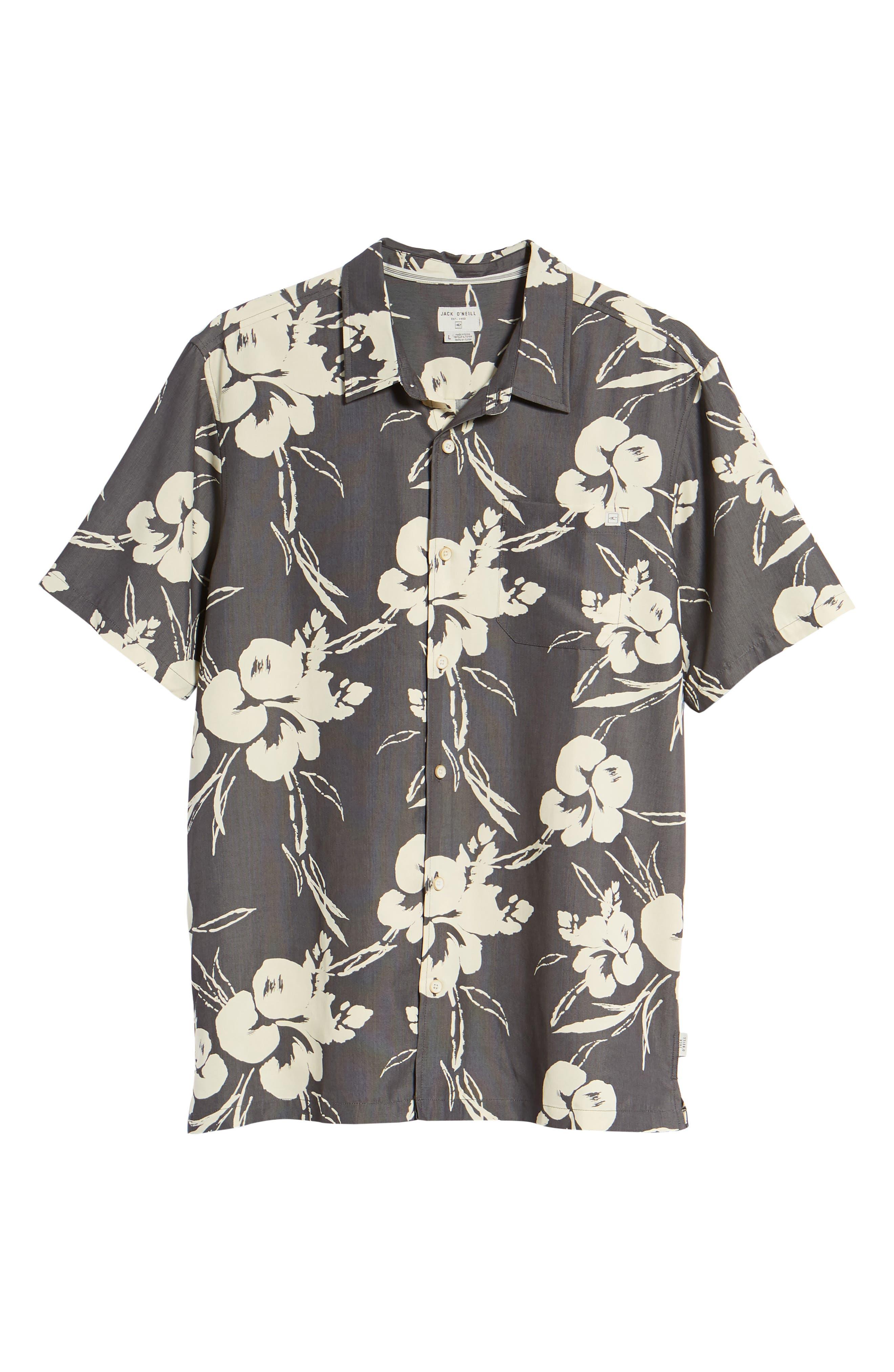 Aloha Print Sport Shirt,                             Alternate thumbnail 6, color,                             Dark Charcoal