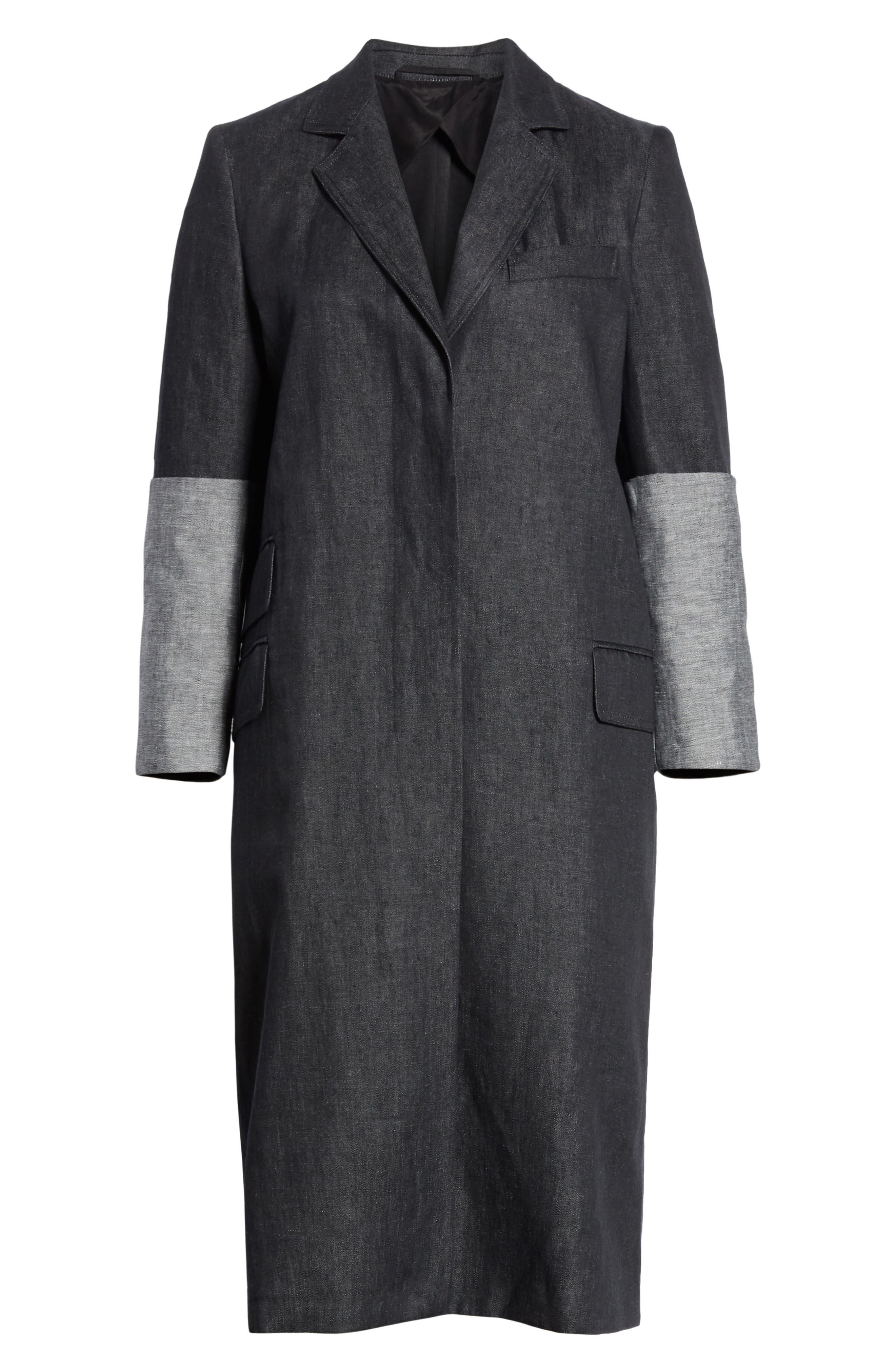 Cannone Linen Coat,                             Alternate thumbnail 6, color,                             Black