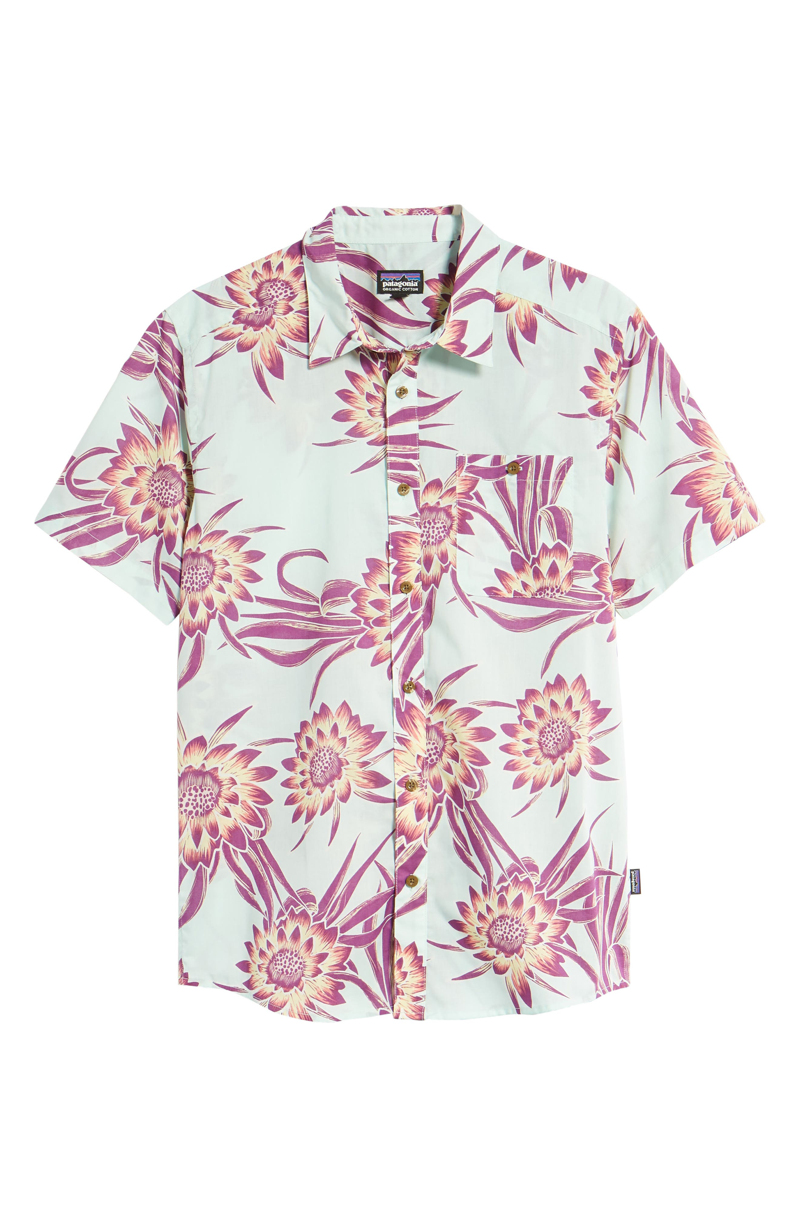 'Go To' Slim Fit Short Sleeve Sport Shirt,                             Alternate thumbnail 6, color,                             Cereus Flower/ Lite Bend Blue